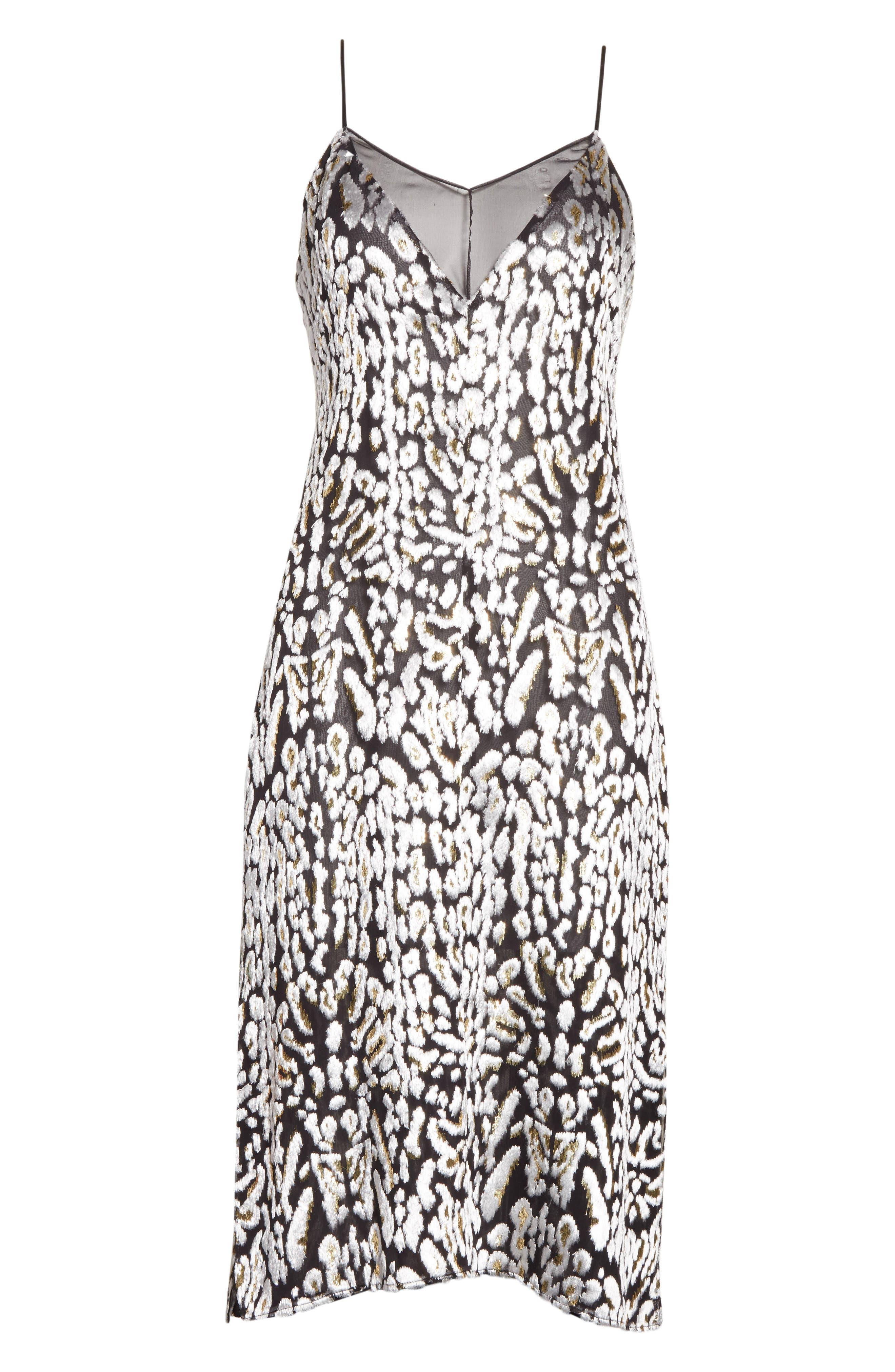 Ocelot Velvet Jacquard Dress,                             Alternate thumbnail 7, color,                             Black/ Ivory/ Gold