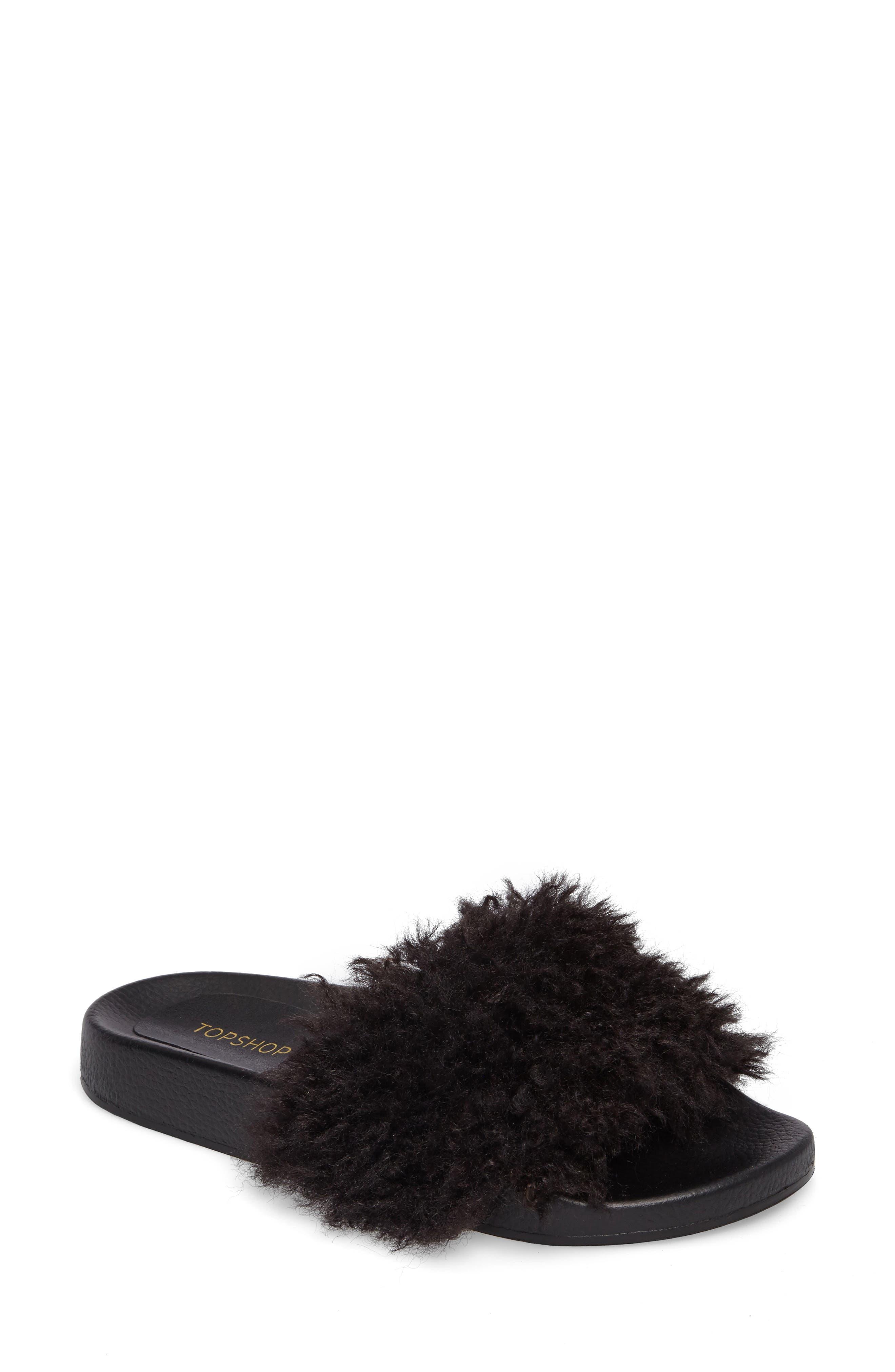 Topshop Howl Faux Fur Slide Sandal (Women)