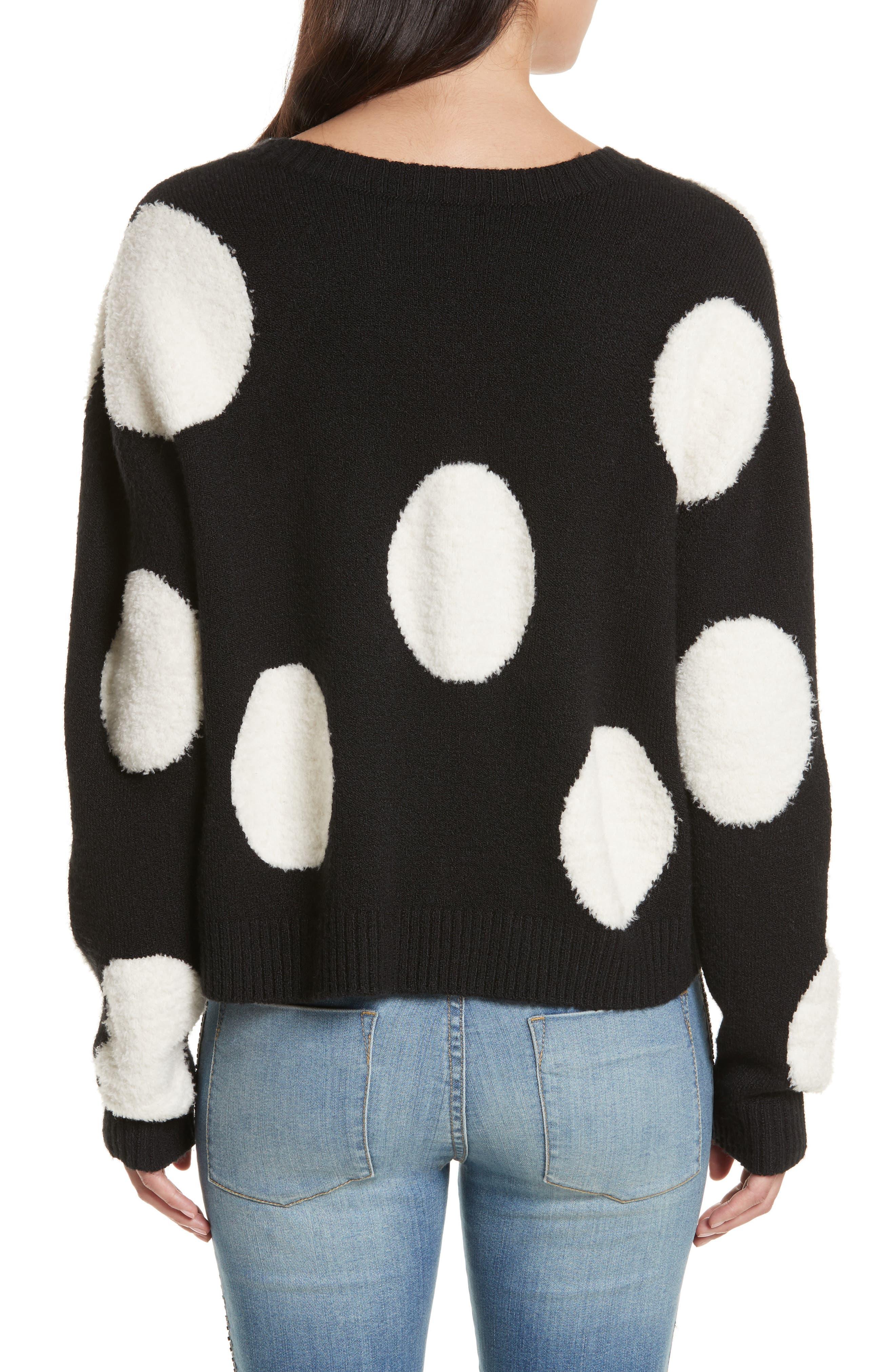 Polka Dot Boxy Sweater,                             Alternate thumbnail 2, color,                             Black/ White