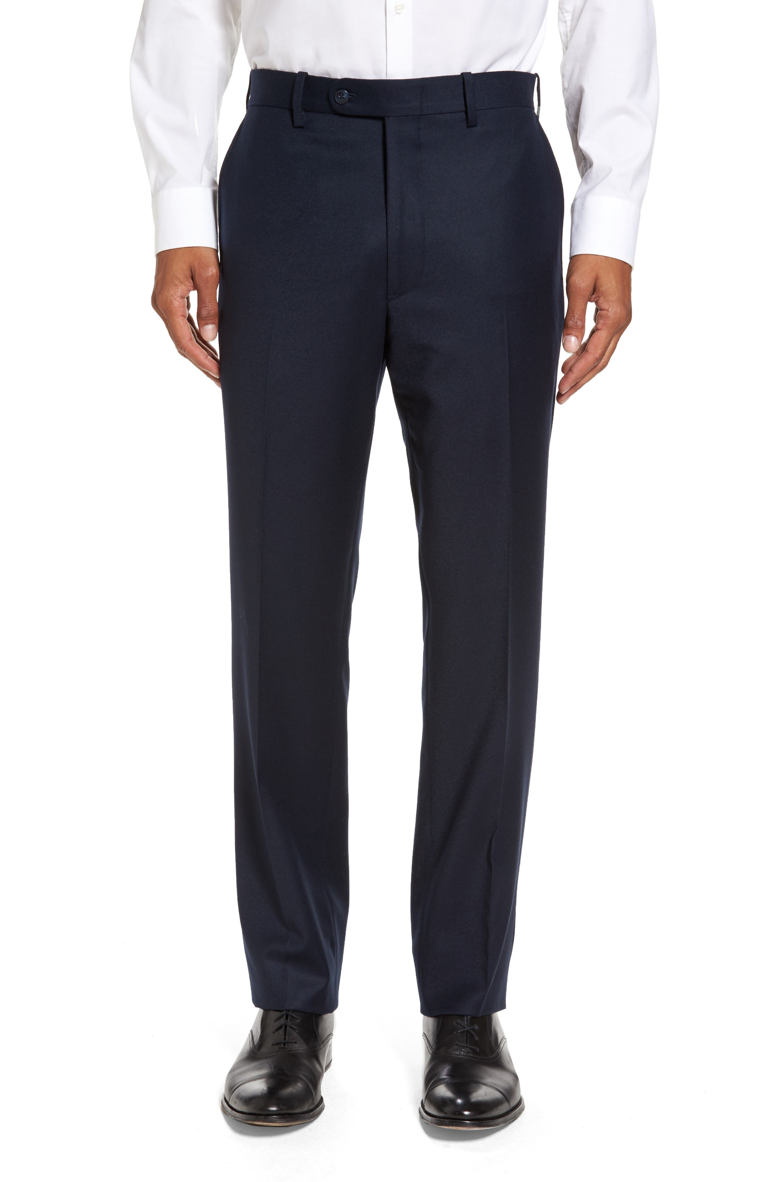 JB Britches Flat Front Solid Wool Trousers