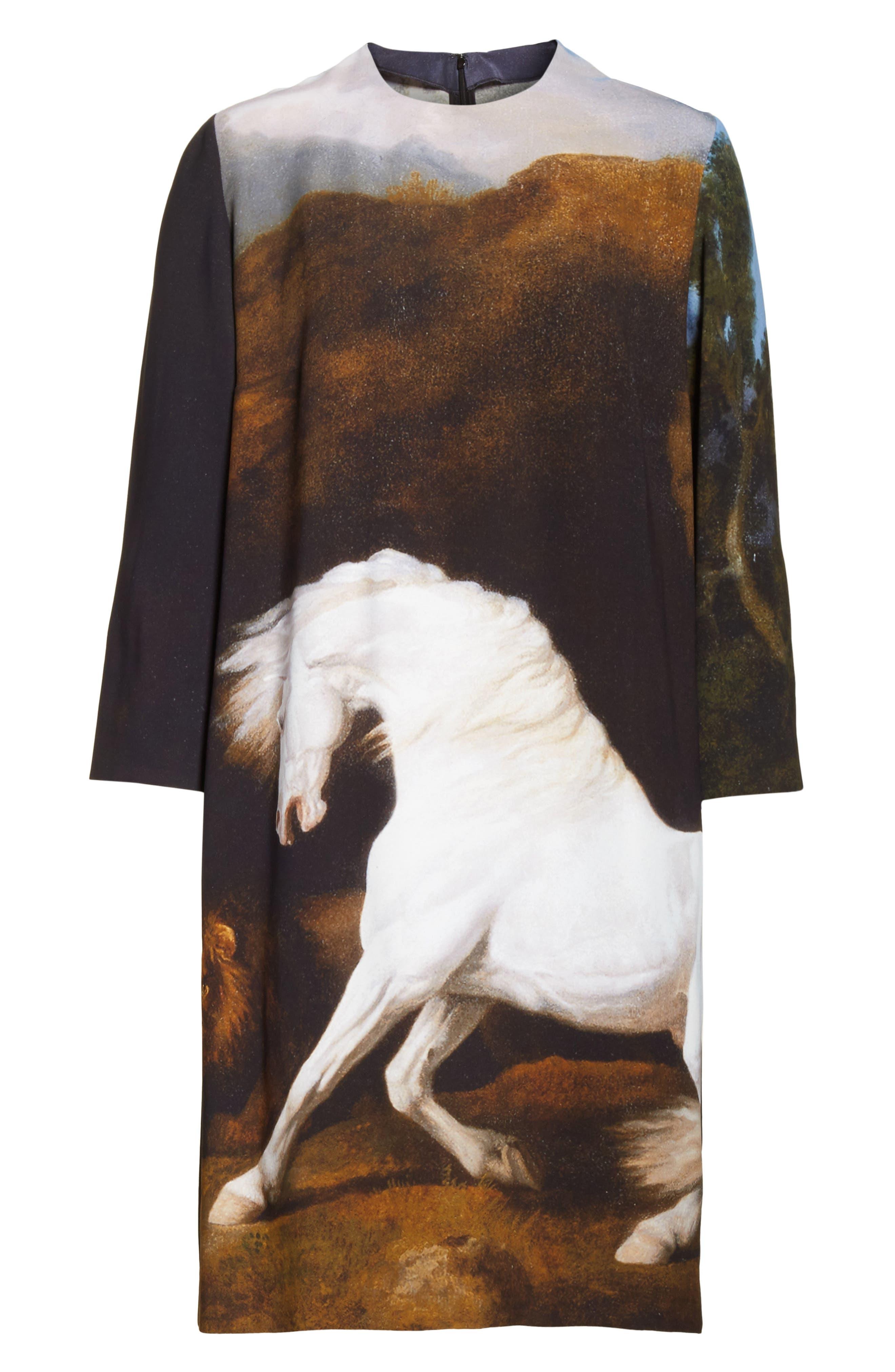 Kira Horse Print Dress,                             Alternate thumbnail 7, color,                             Black