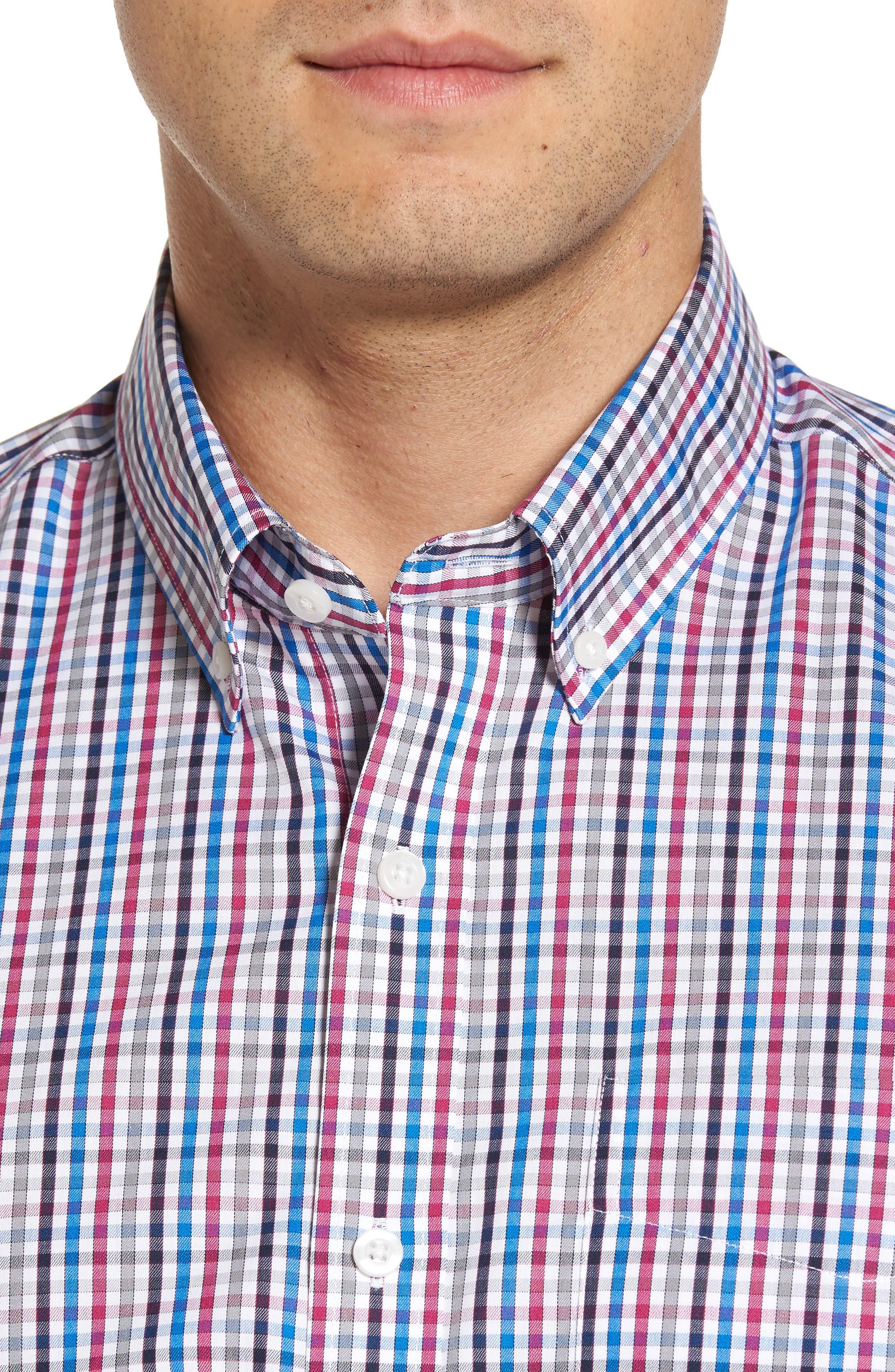 Baxter Epic Easy Care Classic Fit Plaid Sport Shirt,                             Alternate thumbnail 4, color,                             Tannin