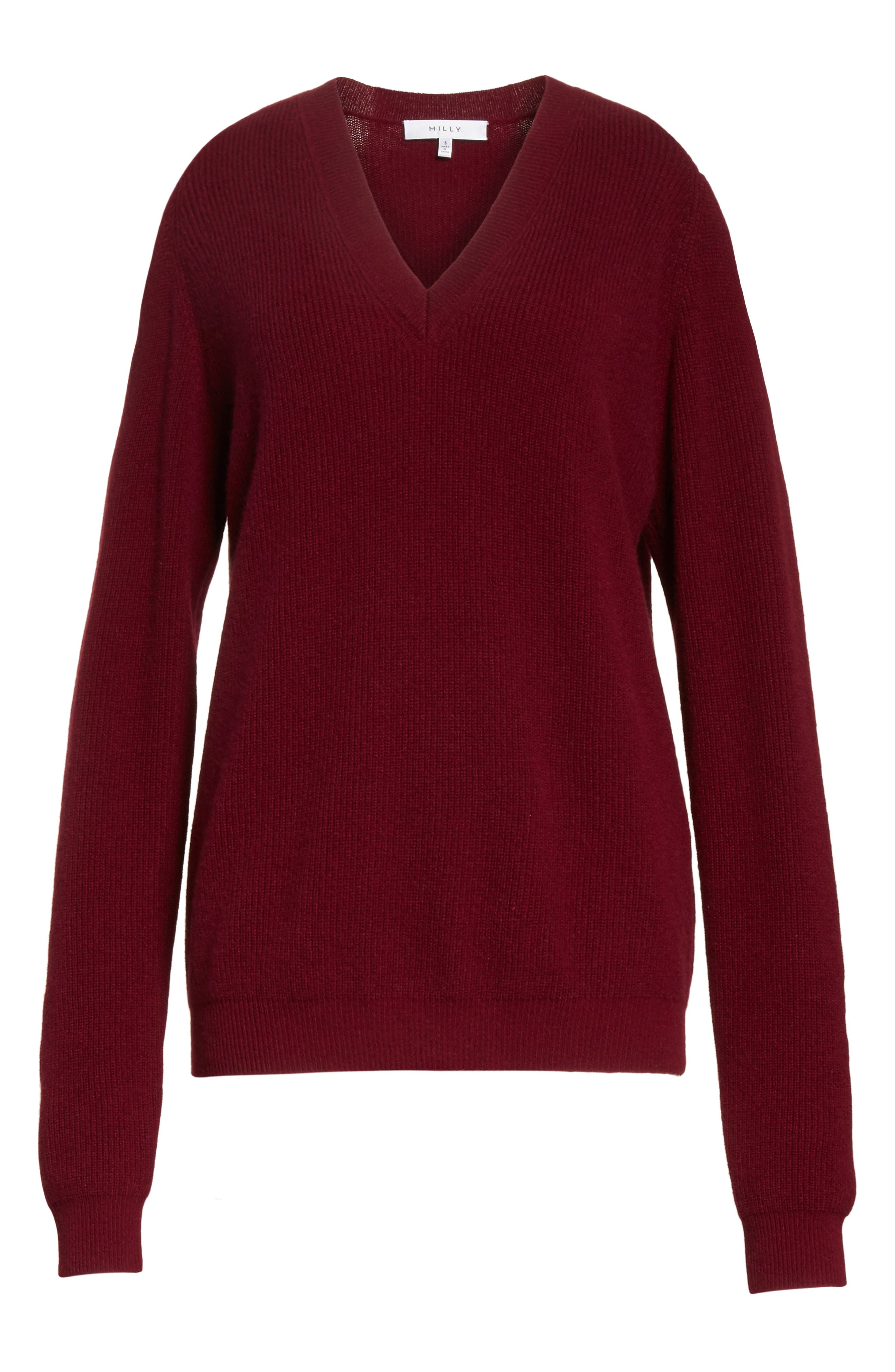 Cold Shoulder Cashmere Pullover,                             Alternate thumbnail 6, color,                             Burgundy