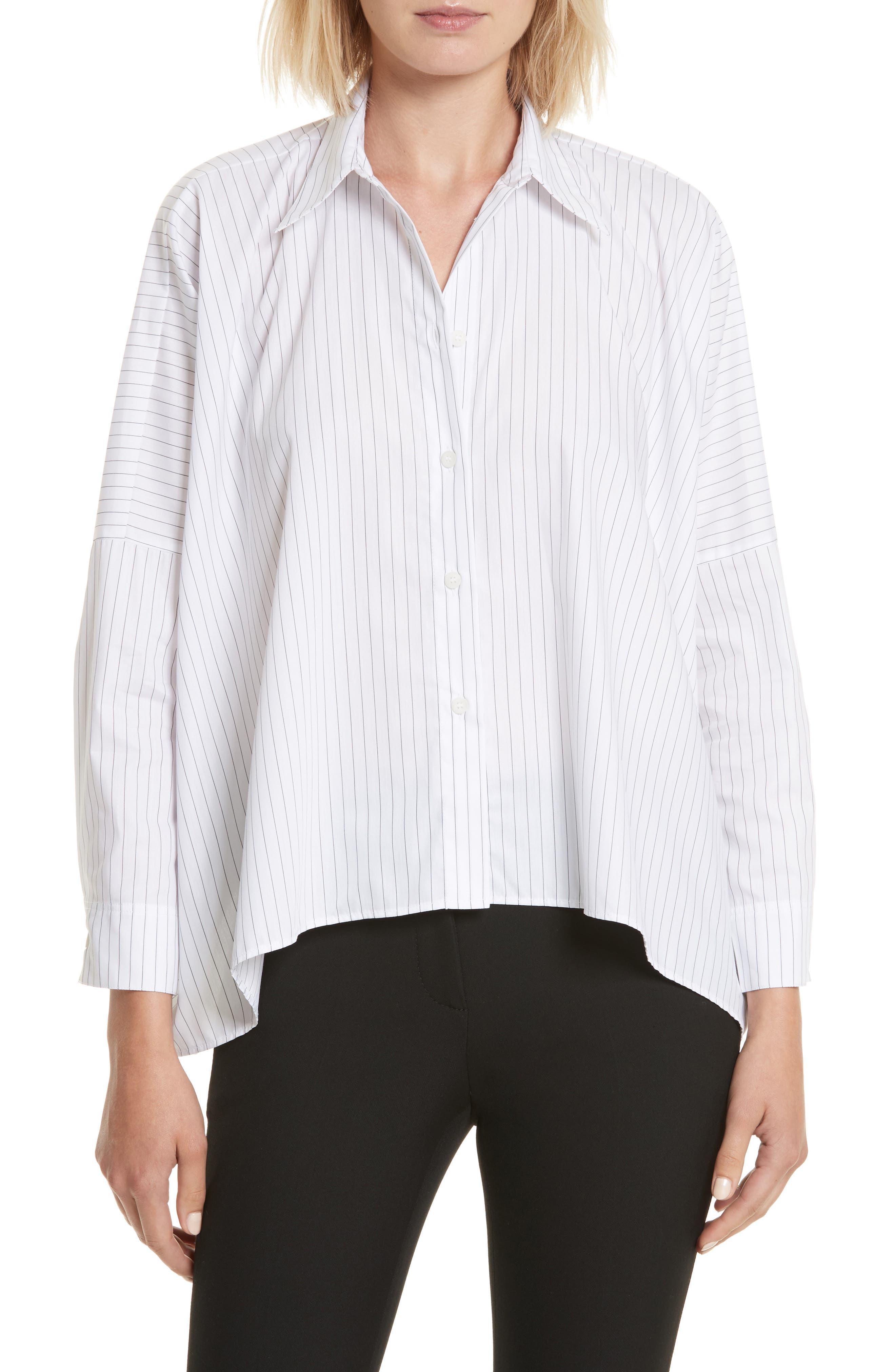Stripe Poplin Top,                         Main,                         color, White/ Black Stripe