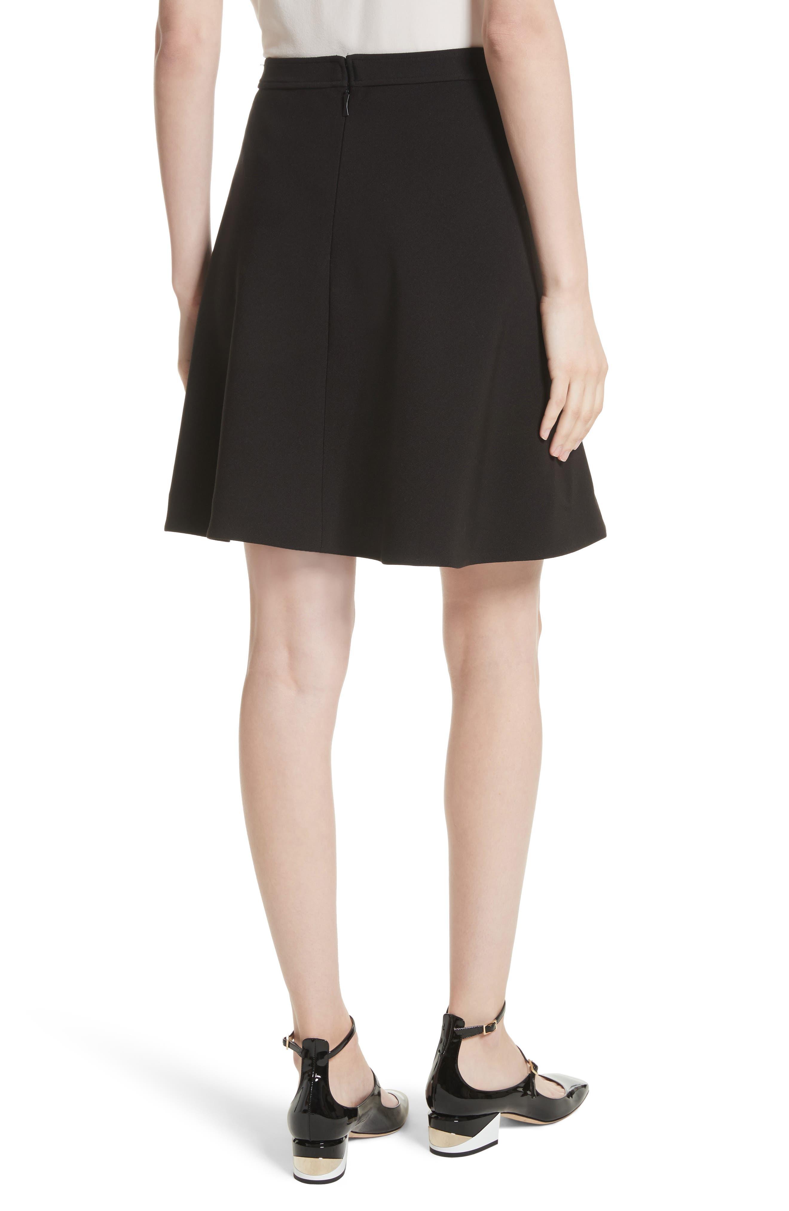 crepe military skirt,                             Alternate thumbnail 2, color,                             Black