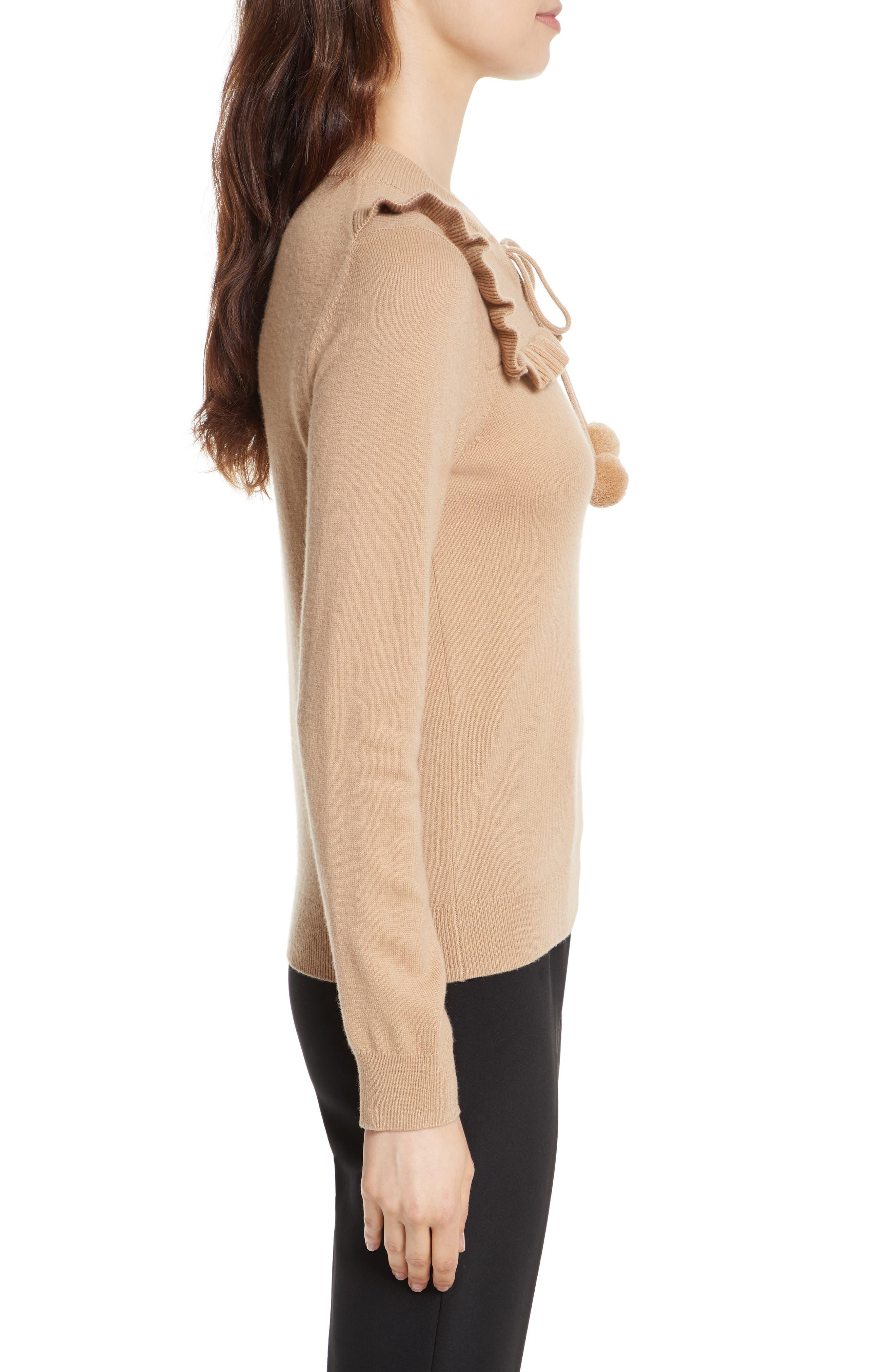 pompom wool & cashmere sweater,                             Alternate thumbnail 3, color,                             Adalia Camel