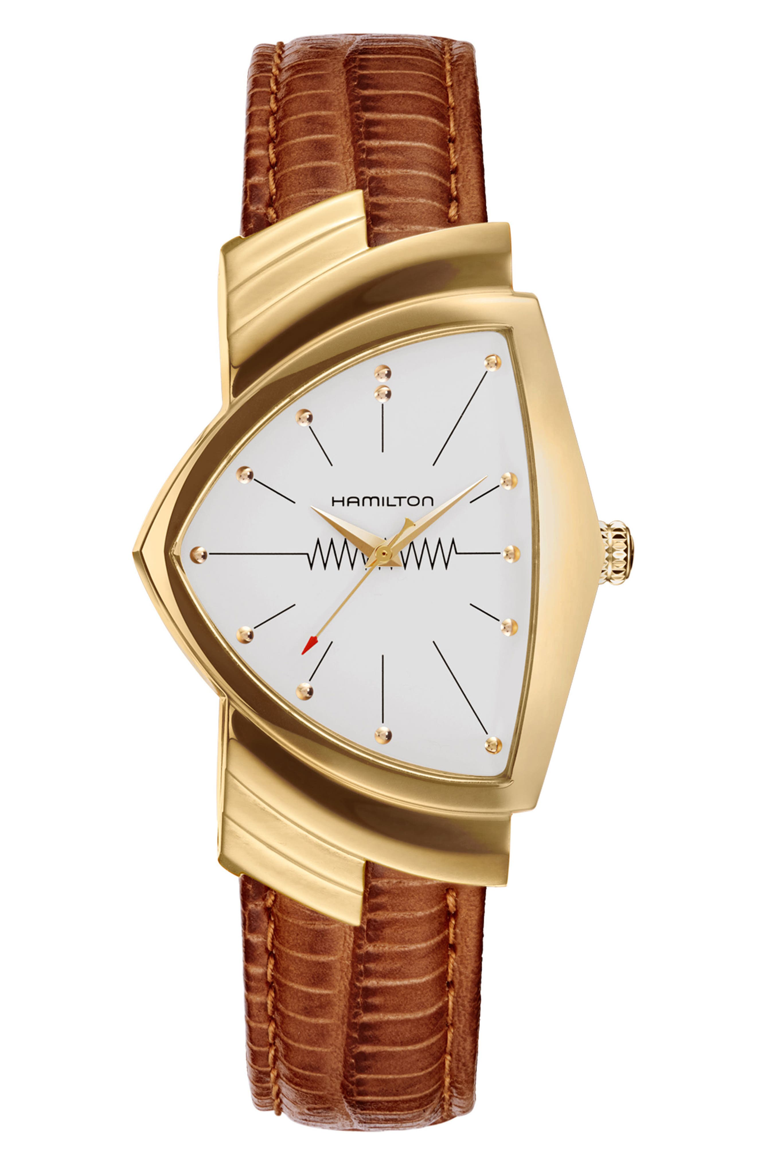 Ventura Leather Strap Watch, 32mm x 50mm,                         Main,                         color, Brown/ White/ Gold