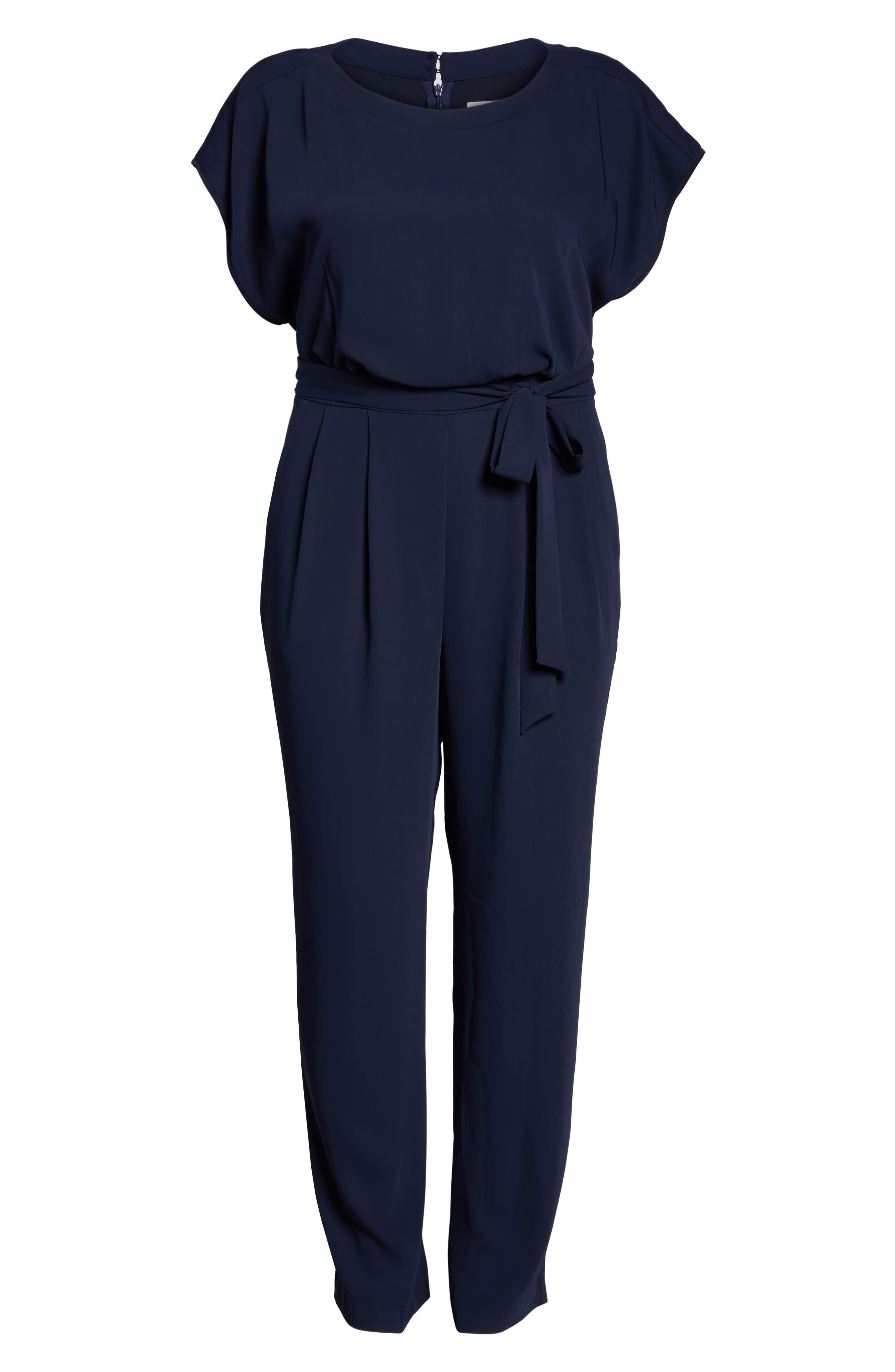 Alternate Image 6  - Eliza J Cap Sleeve Crepe Jumpsuit (Plus Size)