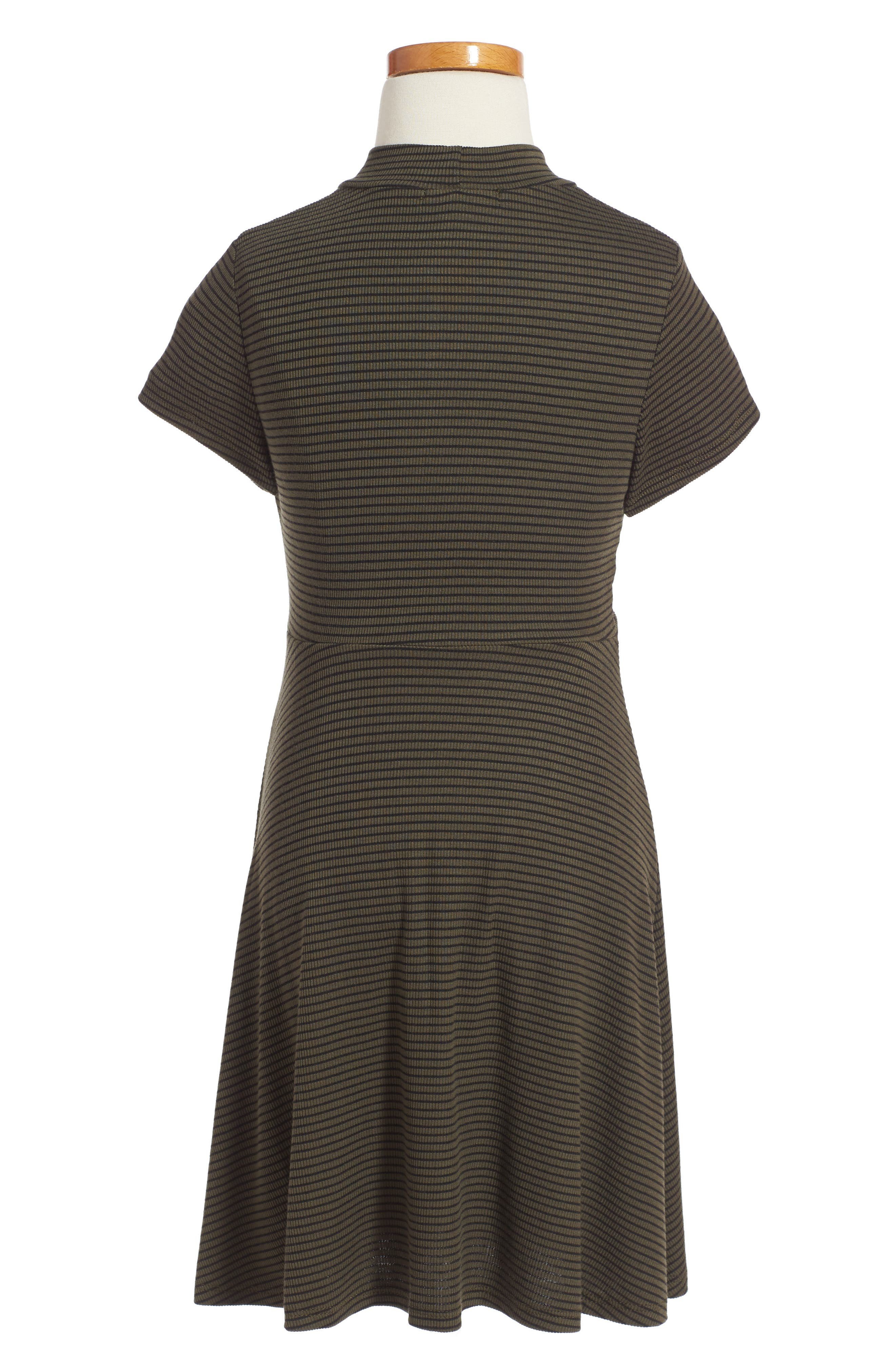 Alternate Image 2  - Soprano Tie Front Stripe Dress (Big Girls)
