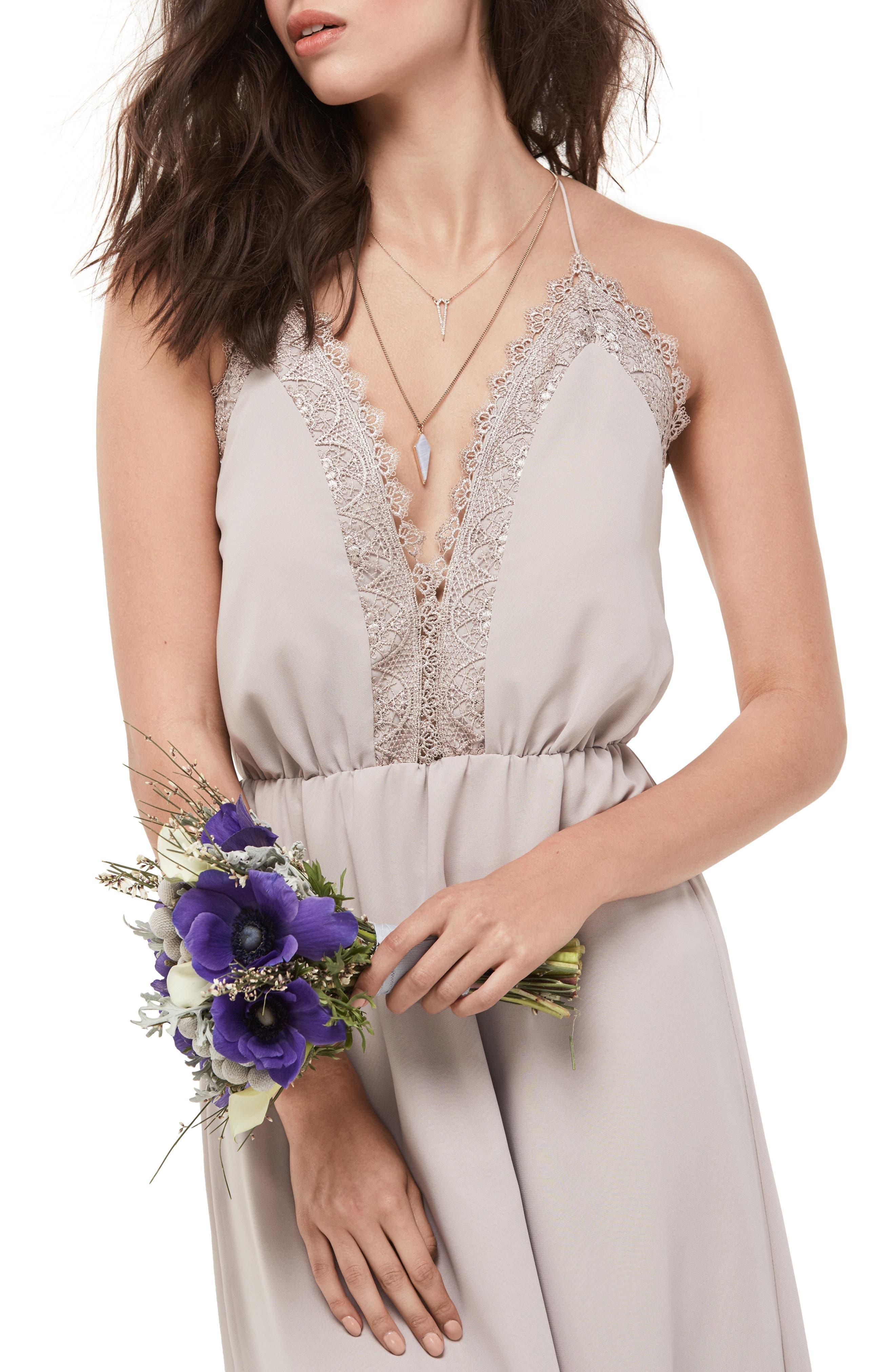 Lace Trim Chiffon Halter Gown,                             Alternate thumbnail 3, color,                             Mocha