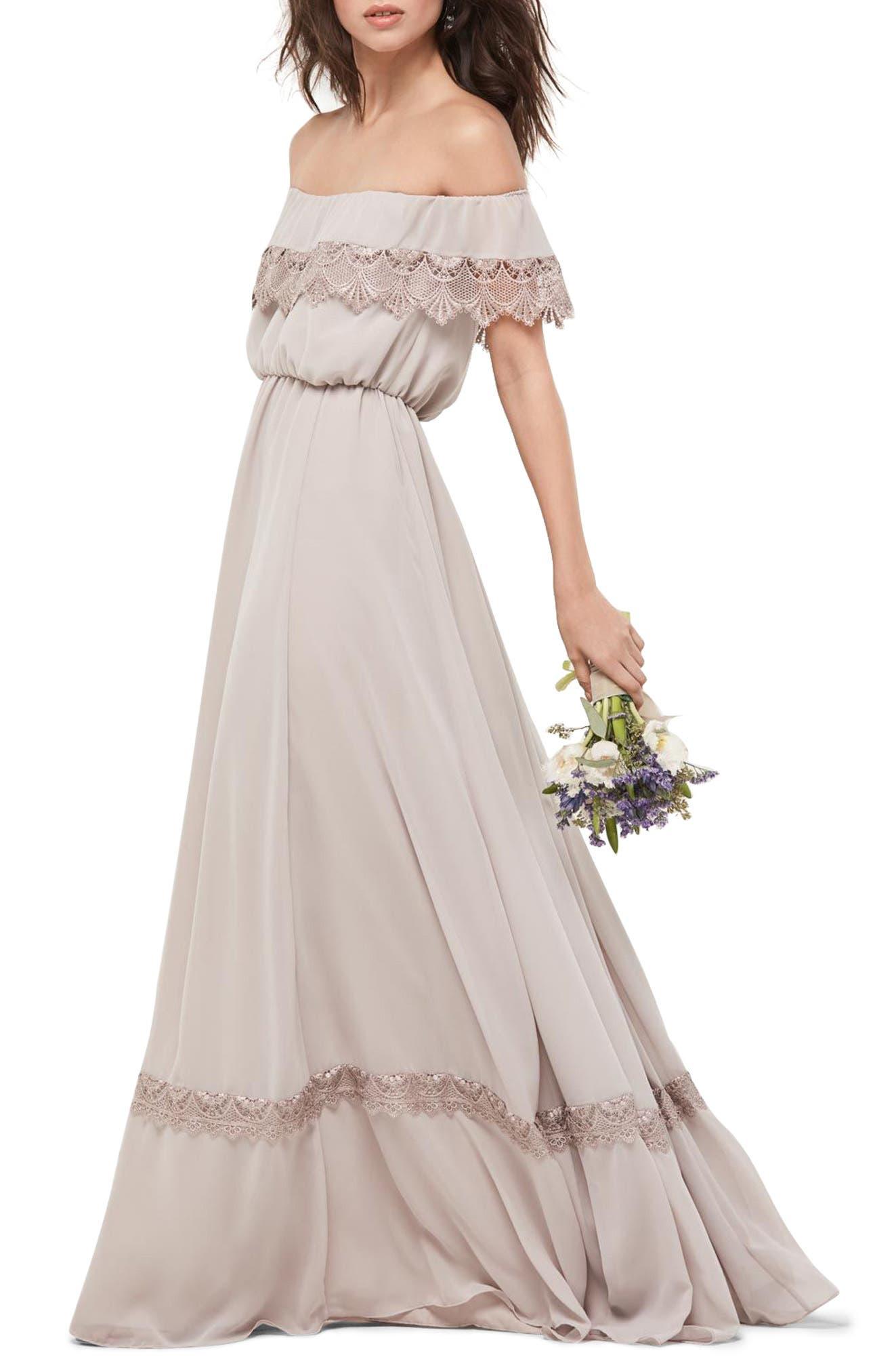 Inna Off the Shoulder Chiffon Blouson Gown,                         Main,                         color, Mocha