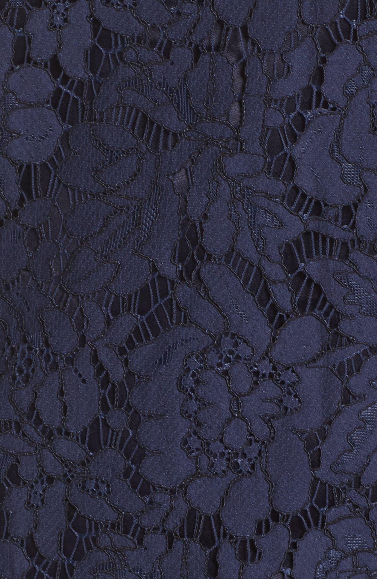 Ruffle Lace Shift Dress,                             Alternate thumbnail 5, color,                             Navy