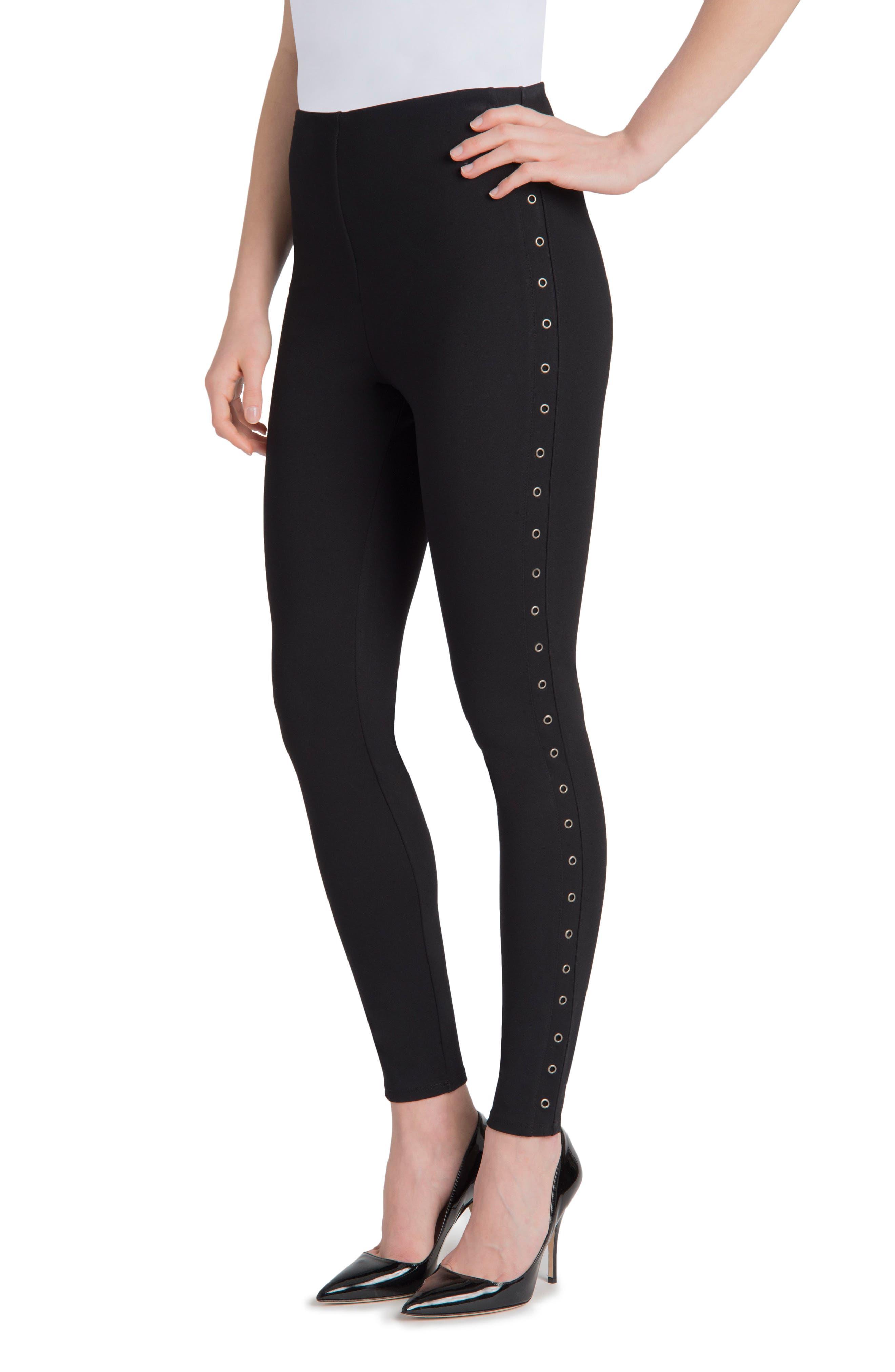 Grommet High Waist Leggings,                         Main,                         color, Black