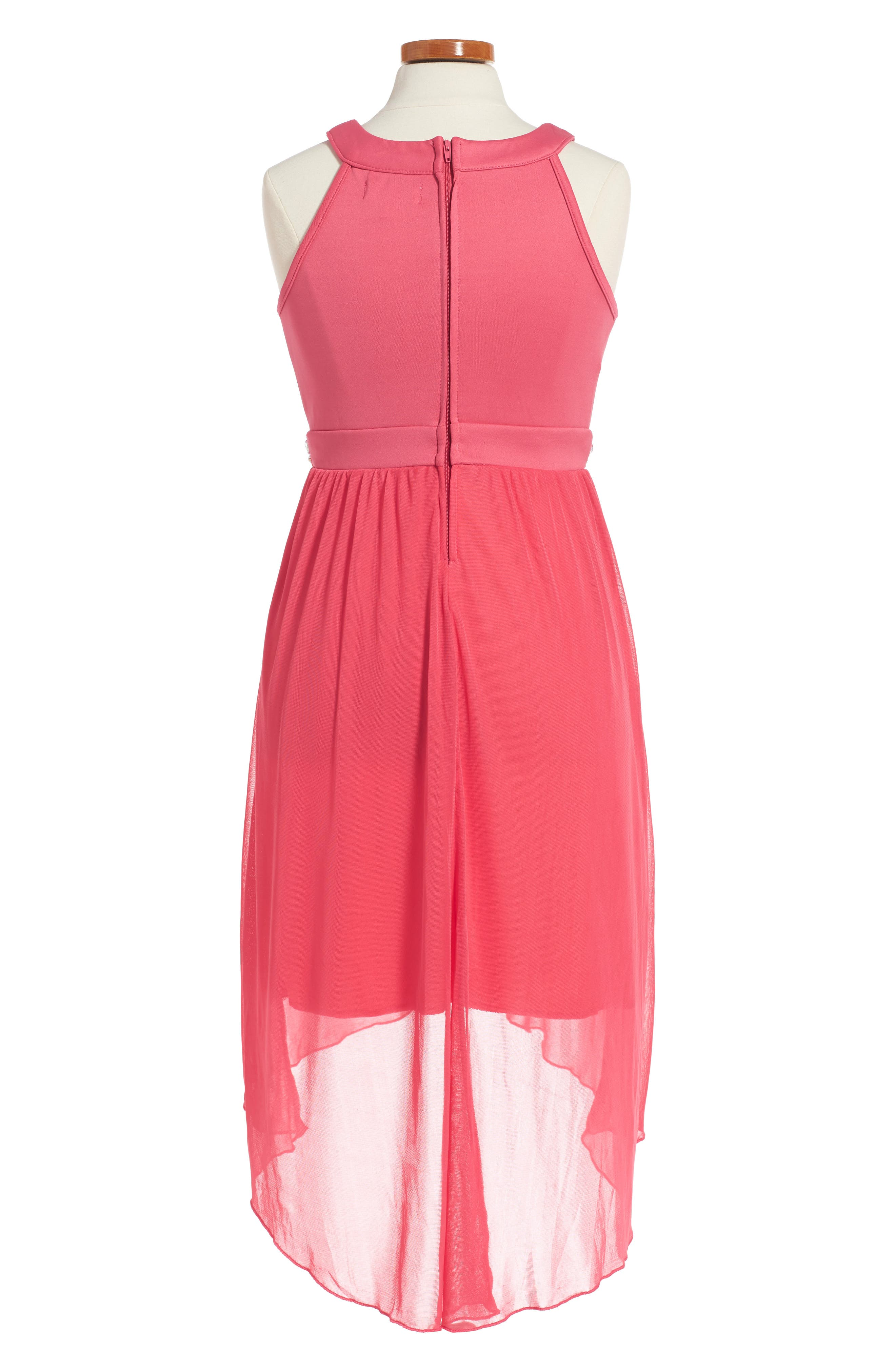 Sleeveless High/Low Dress,                             Alternate thumbnail 2, color,                             Coral
