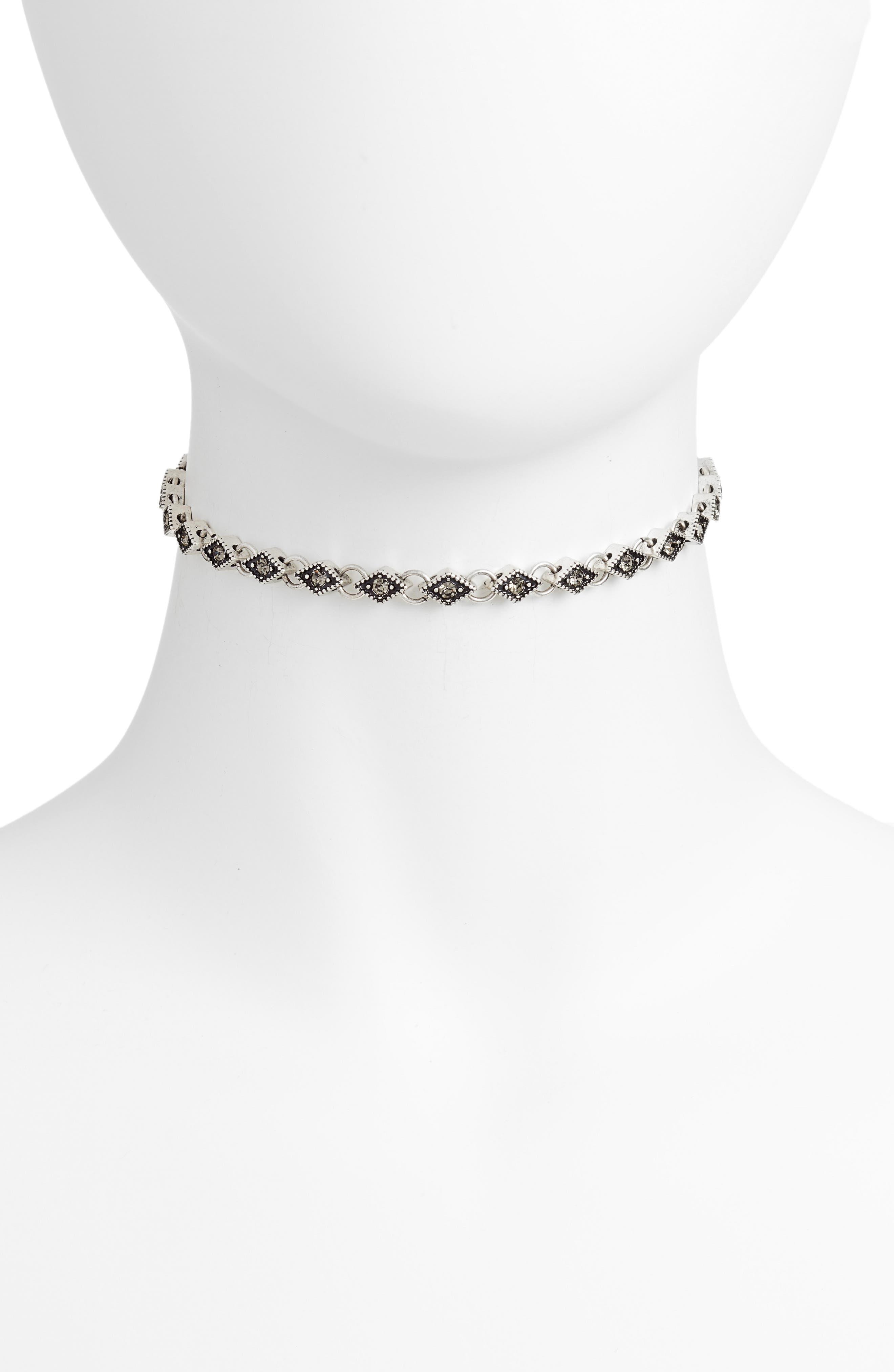 Diamond Choker Necklace,                         Main,                         color, Black Diamond- Rhodium