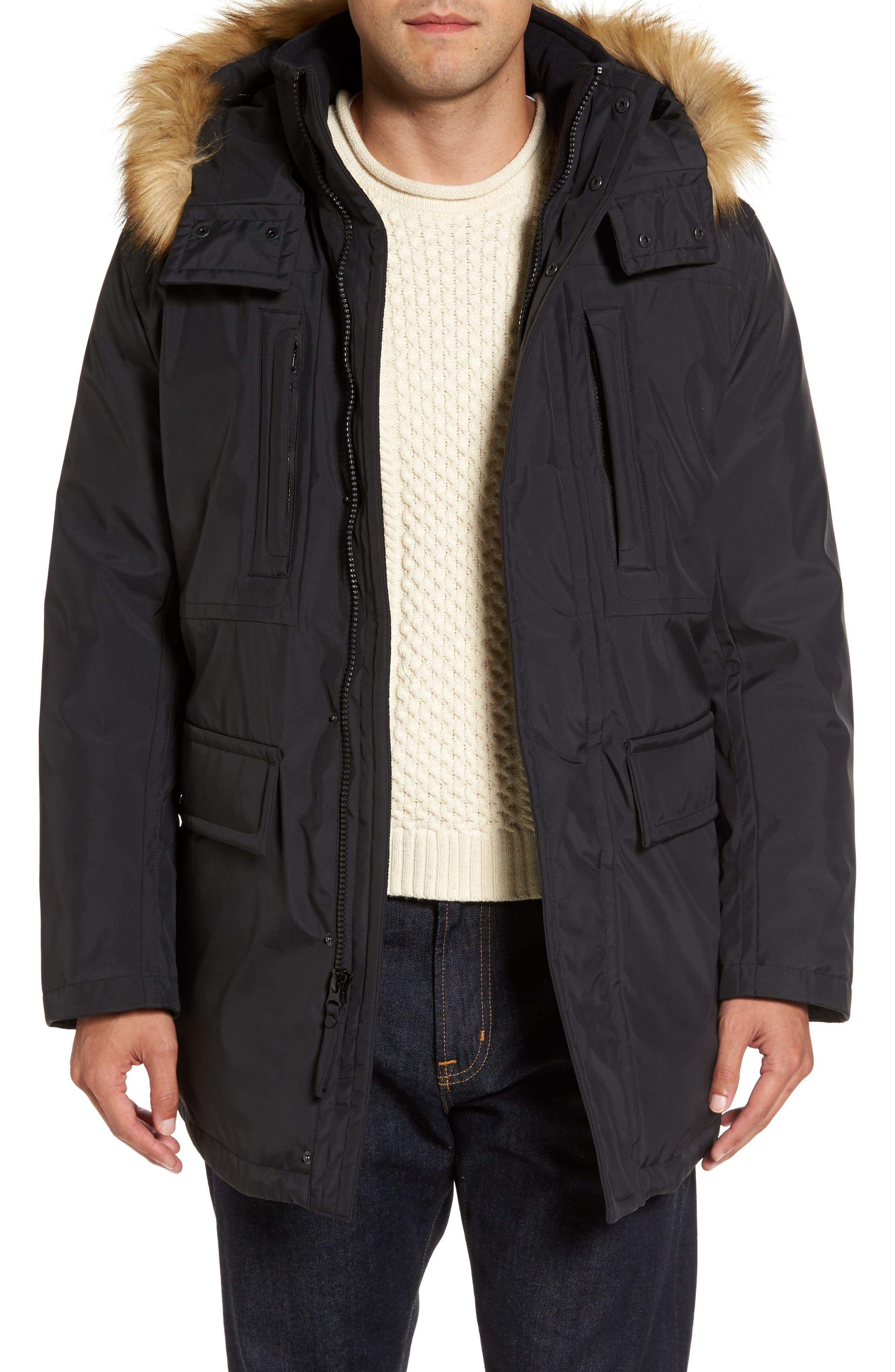 Main Image - Marc New York Down Jacket with Faux Fur Trim