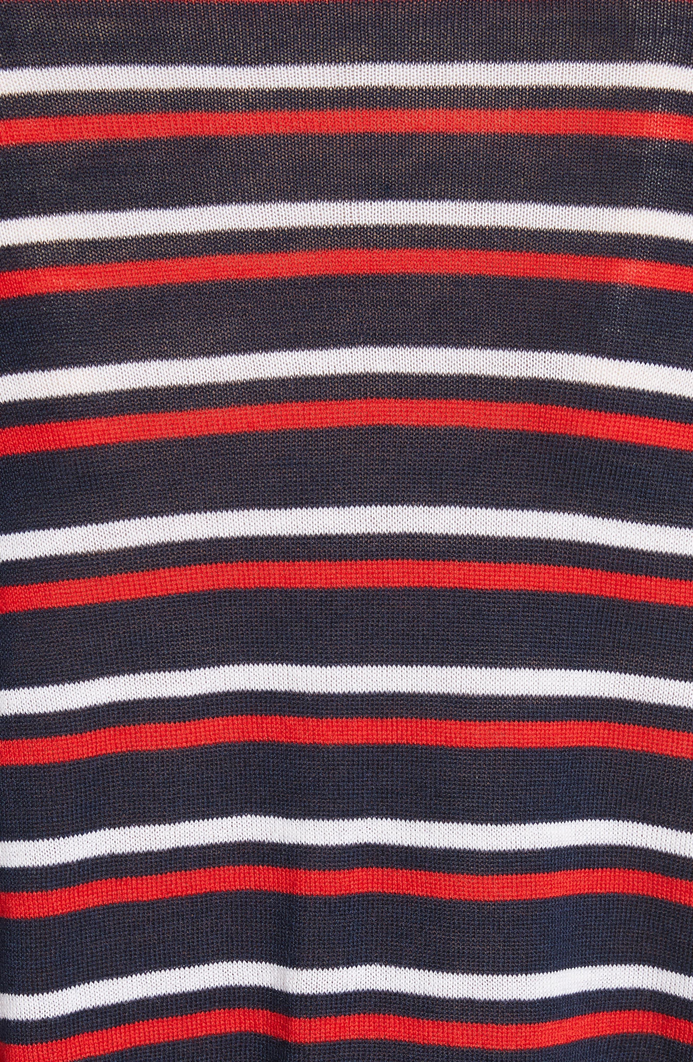 être cécile Stripe Knit Boyfriend Sweater,                             Alternate thumbnail 5, color,                             Marine Blue/ Red/ White