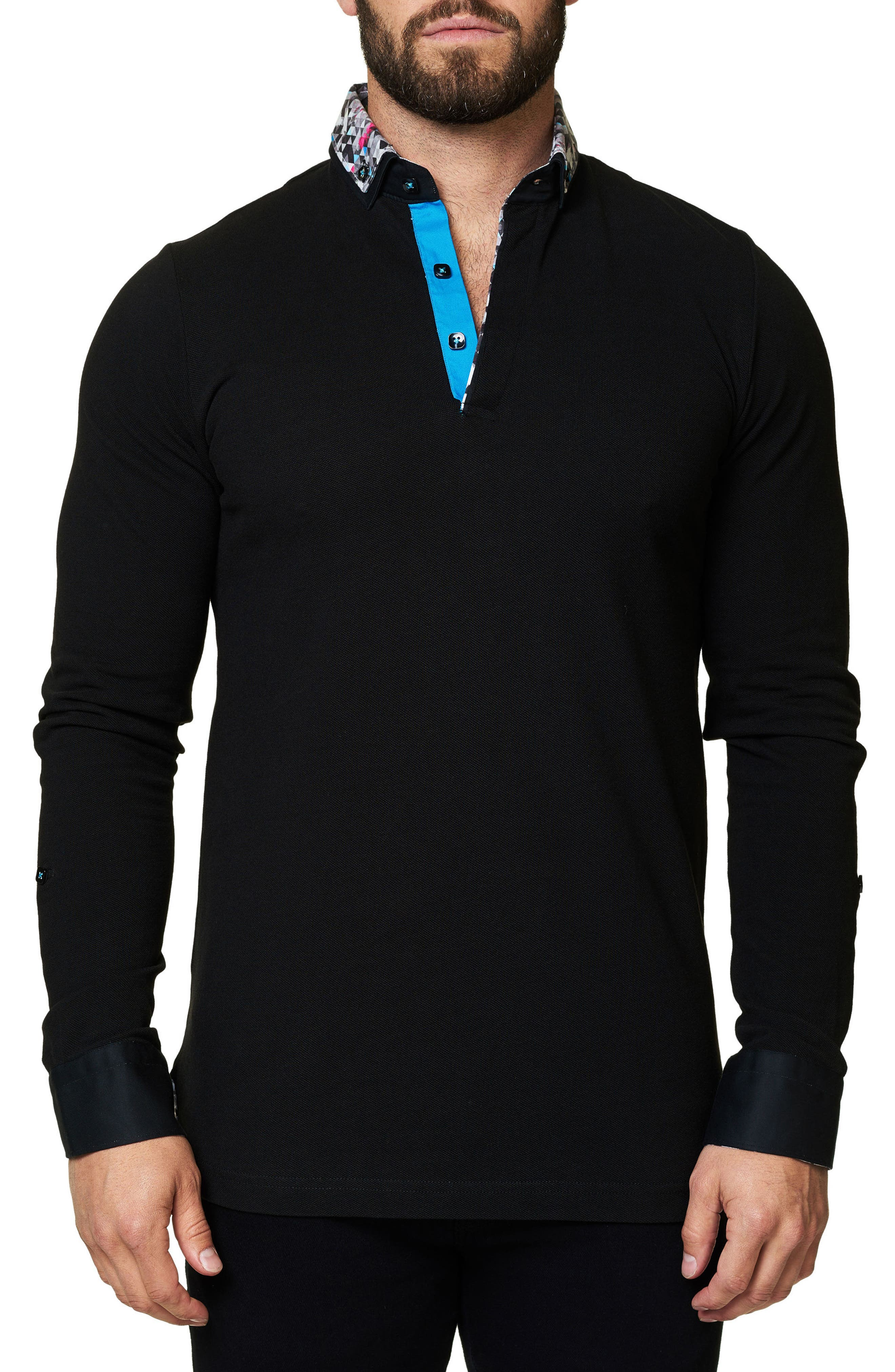 Slim Fit Woven Trim Long Sleeve Polo,                             Main thumbnail 1, color,                             Black