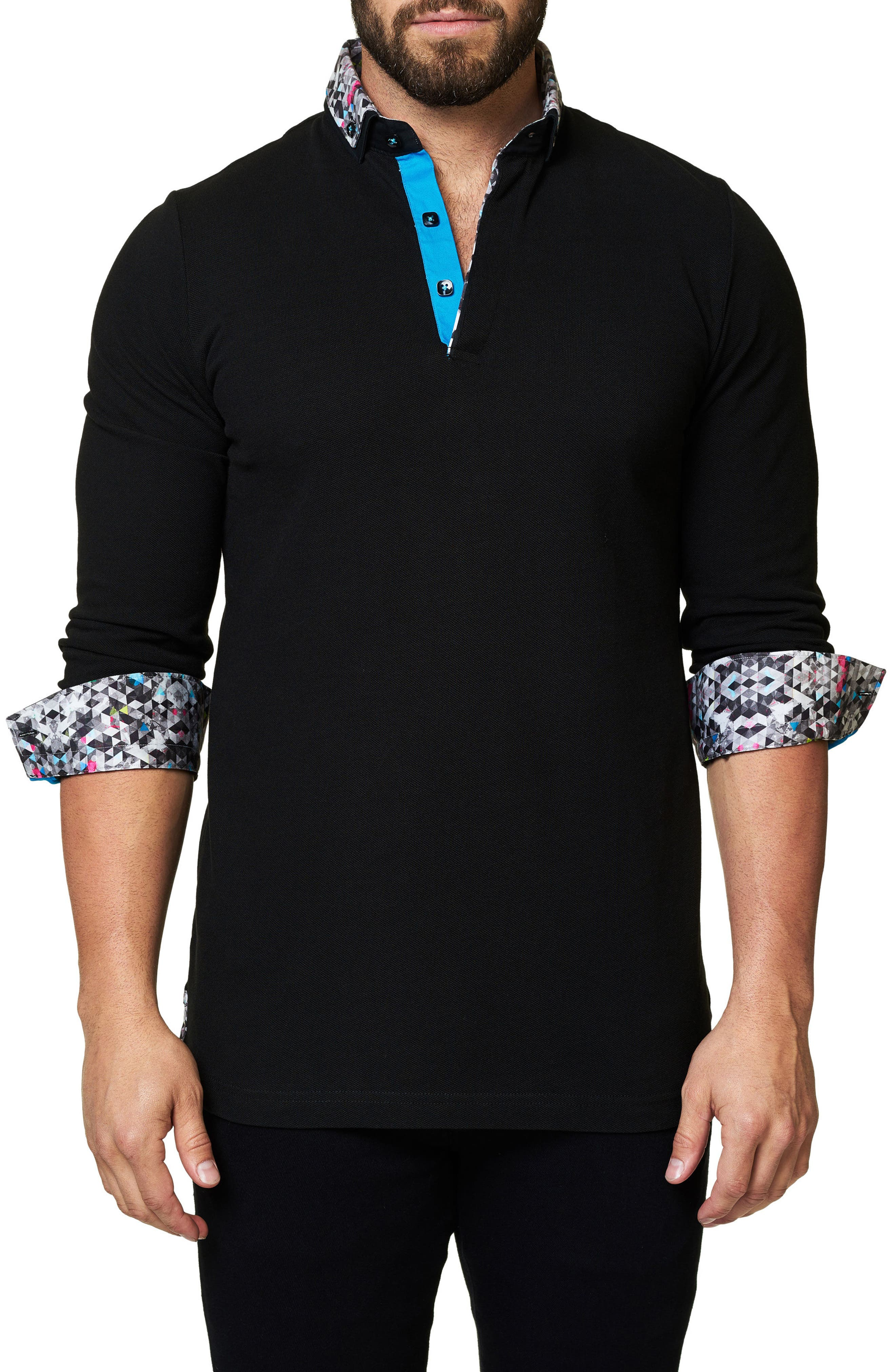 Slim Fit Woven Trim Long Sleeve Polo,                             Alternate thumbnail 4, color,                             Black