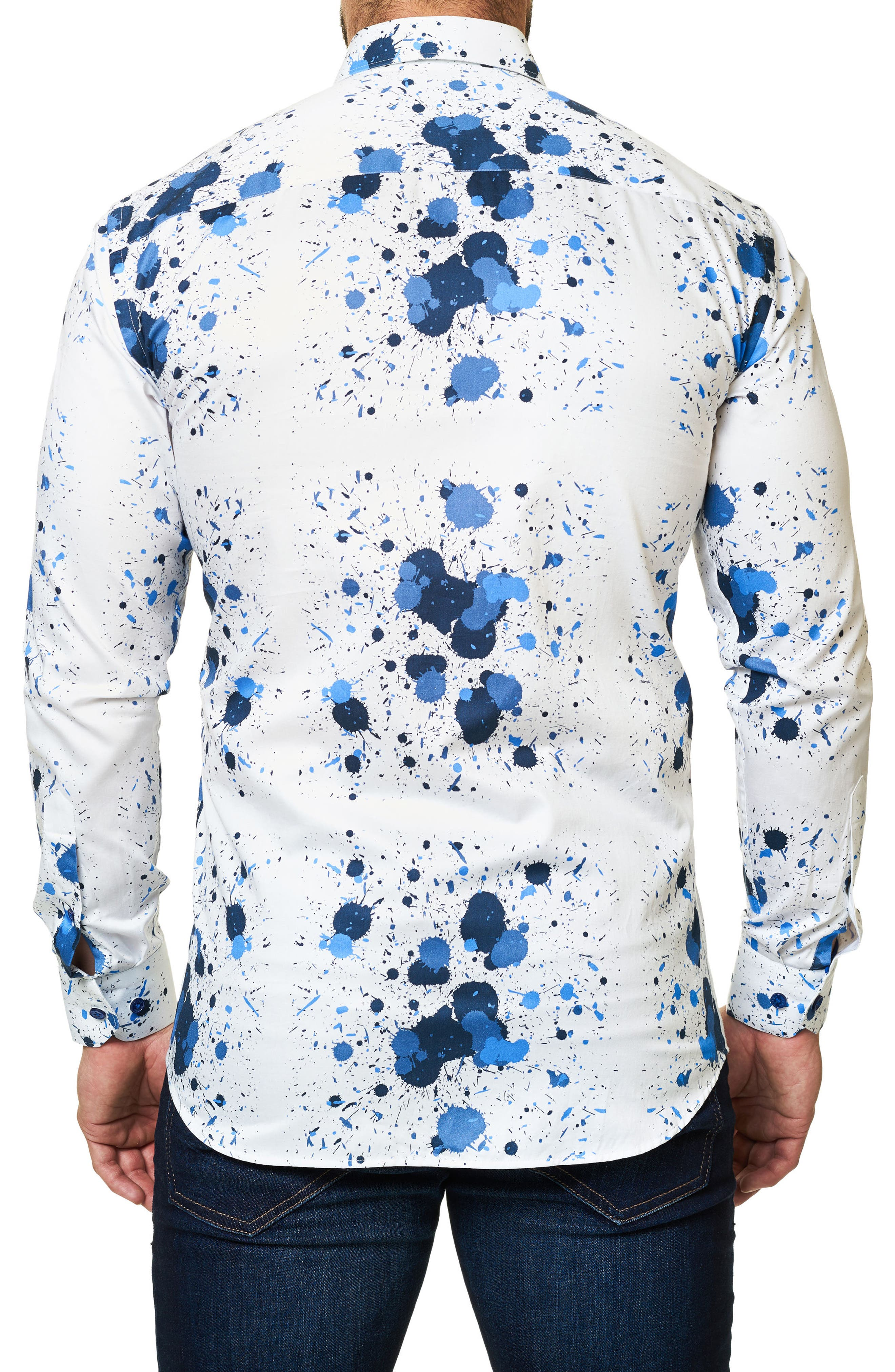Trim Fit Splash Print Sport Shirt,                             Alternate thumbnail 2, color,                             White