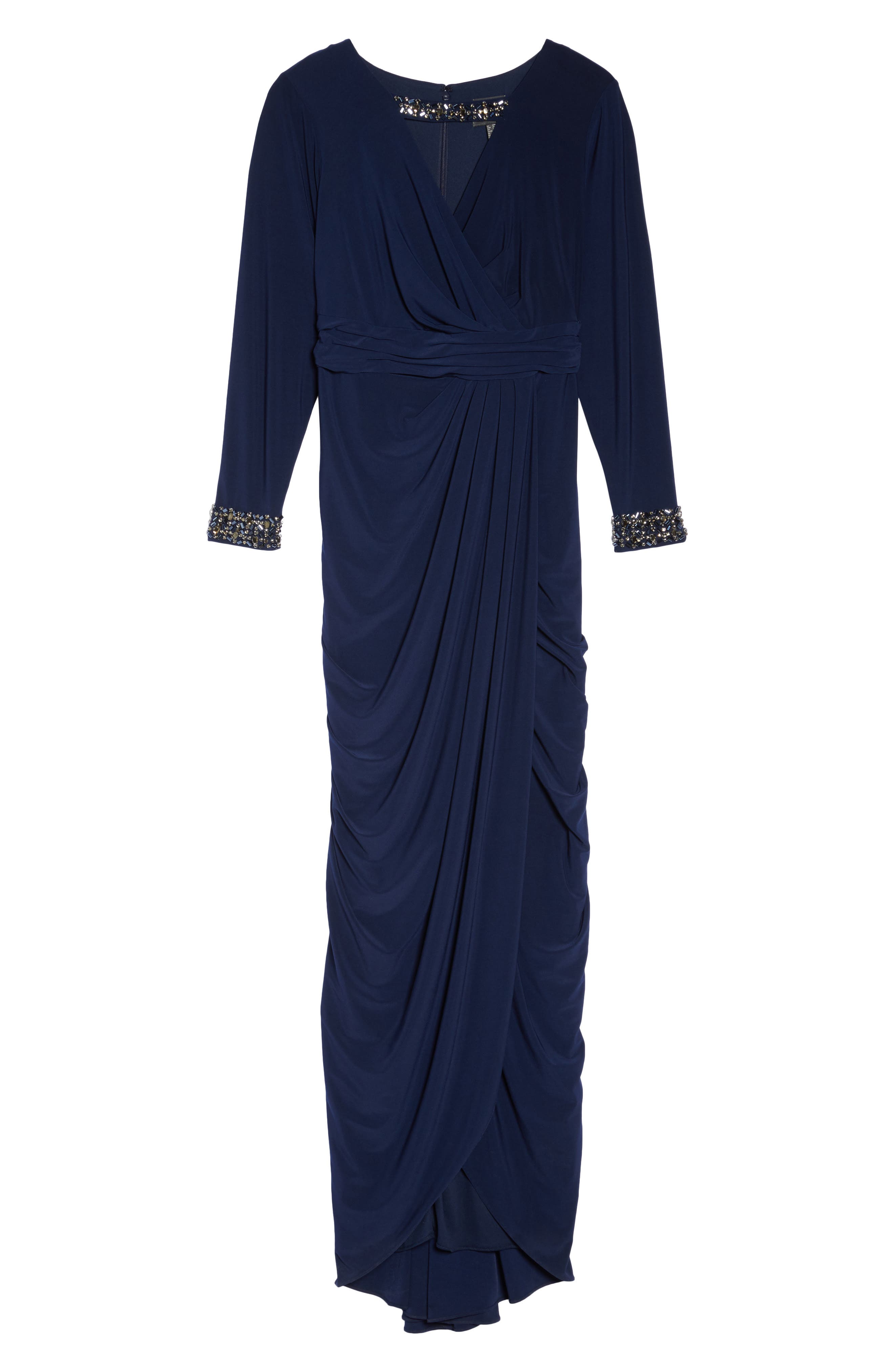 Alternate Image 6  - Adrianna Papell Wrap Front Jersey Gown (Plus Size)
