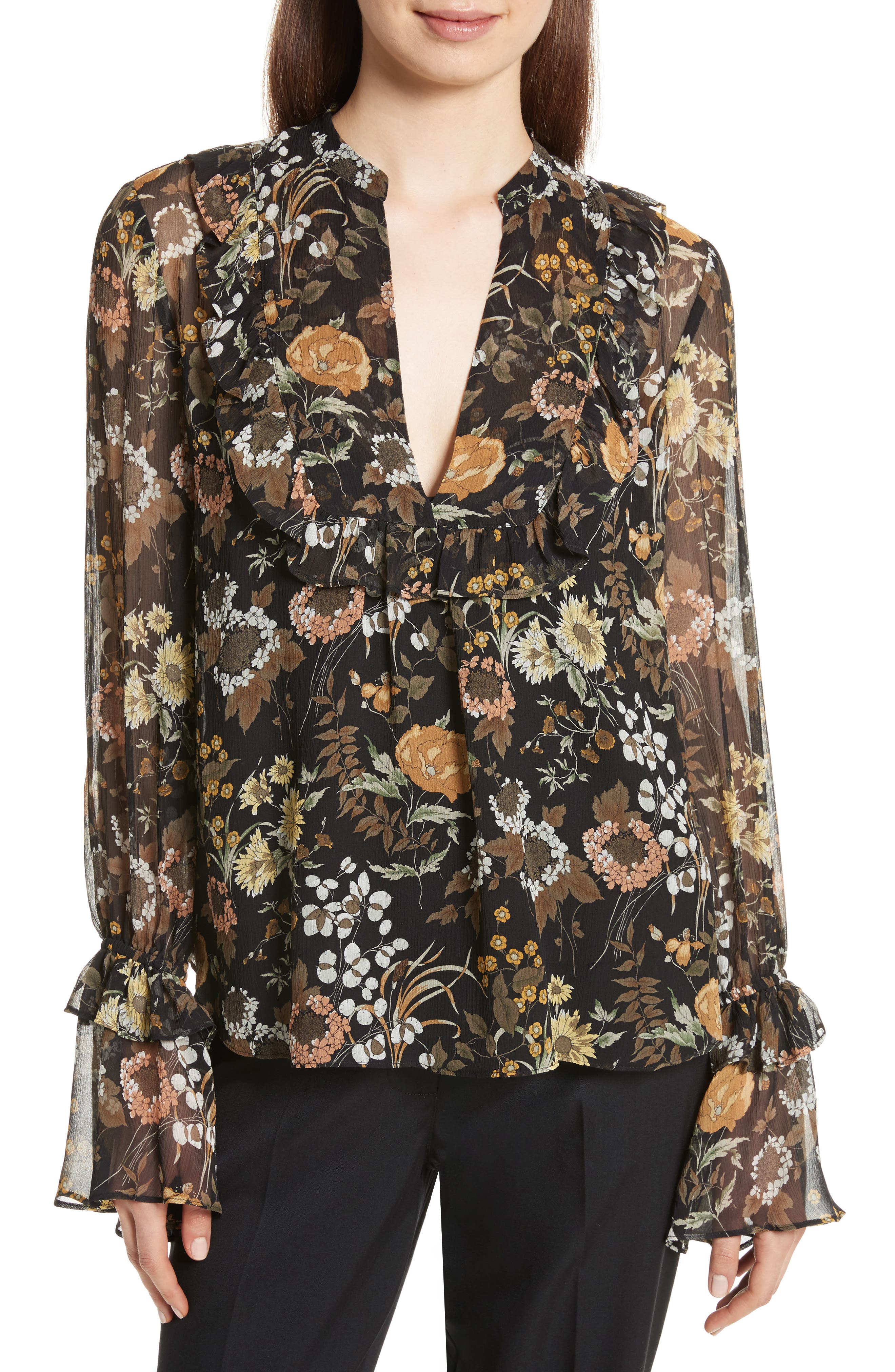 Alternate Image 1 Selected - Robert Rodriguez Ruffle Silk Peasant Top
