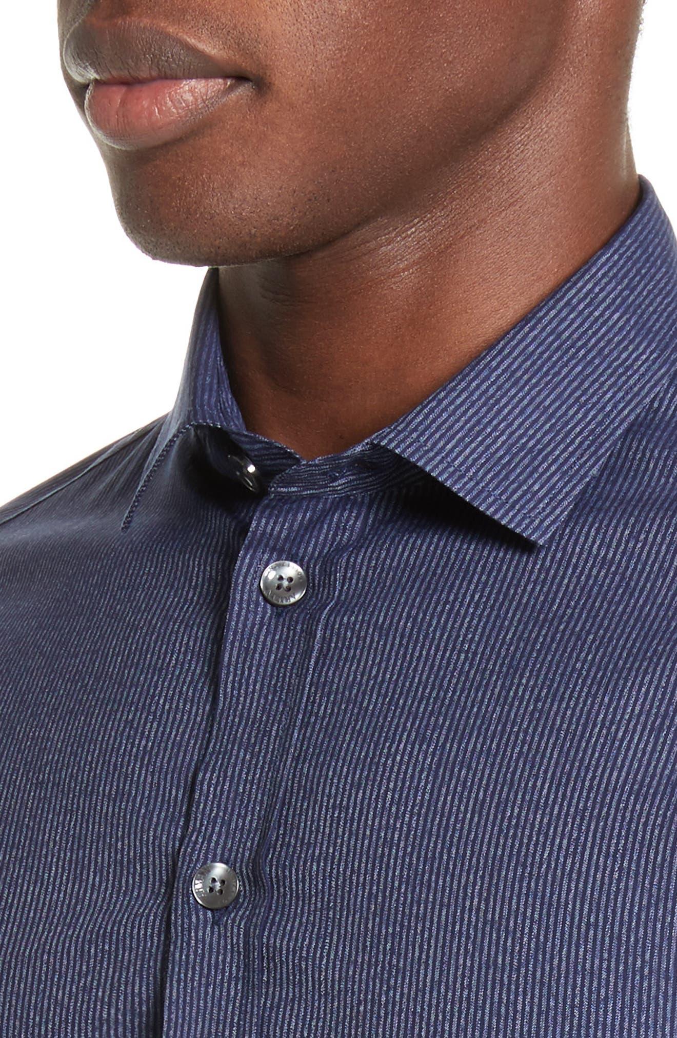 Regular Fit Pinstripe Sport Shirt,                             Alternate thumbnail 2, color,                             Striped Blue