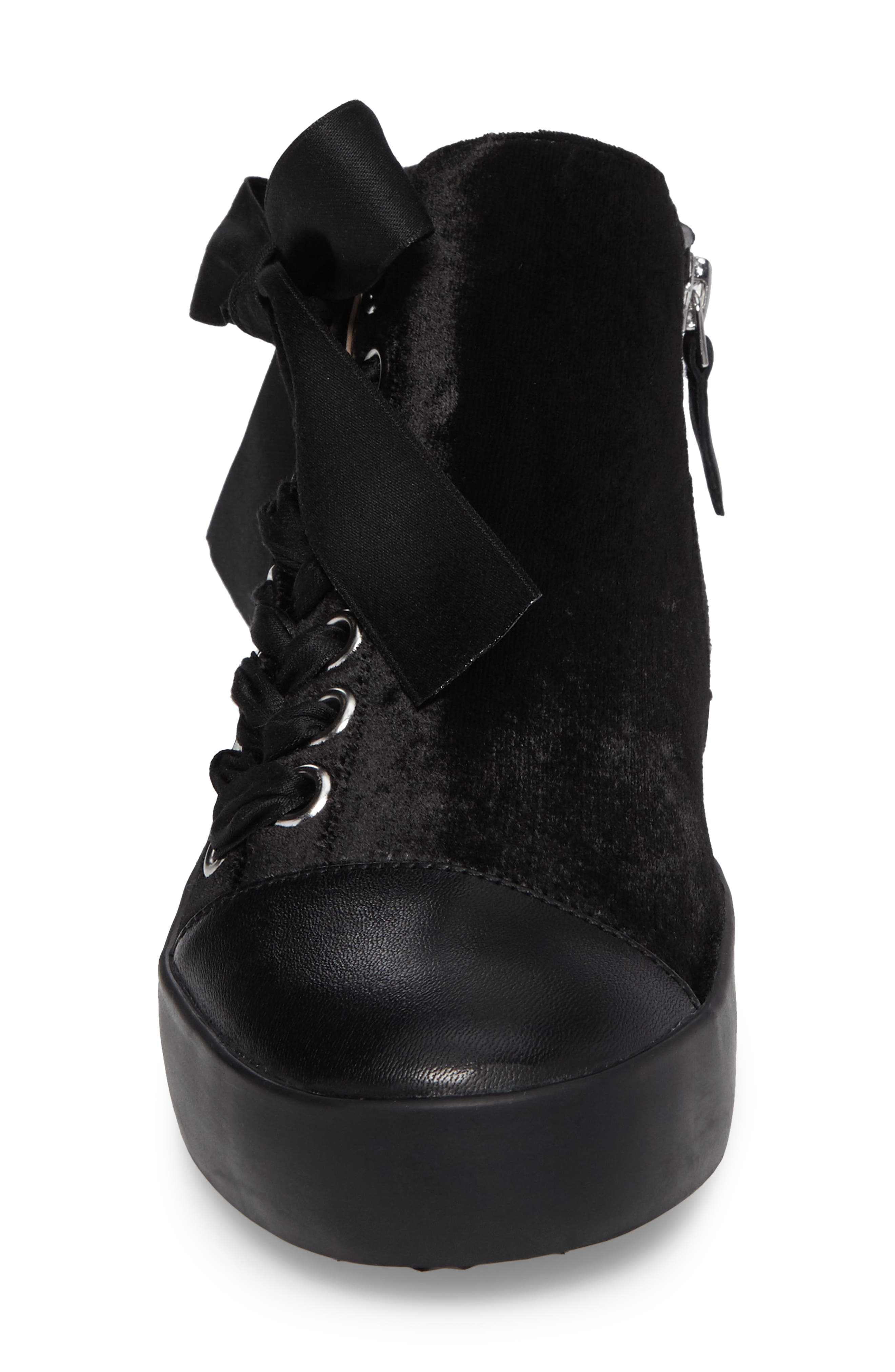 Valerie High Top Sneaker,                             Alternate thumbnail 4, color,                             Black Fabric\Leather