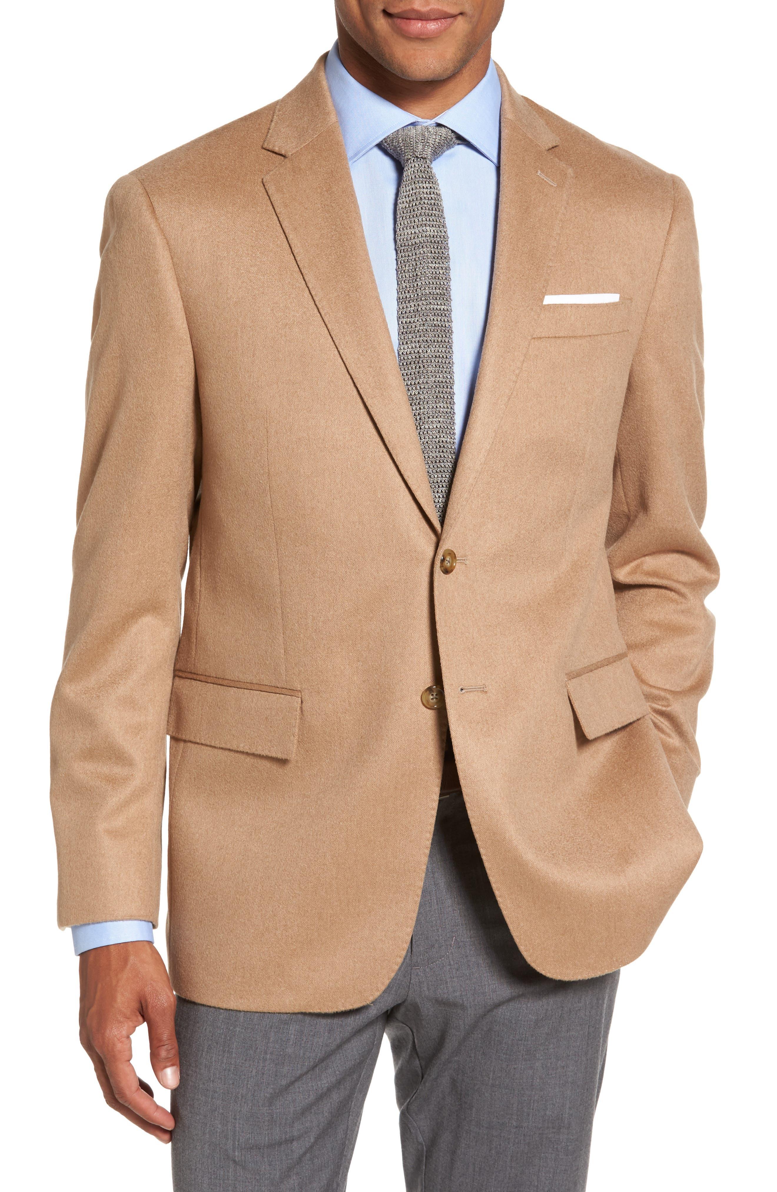 Trim Fit Camel Hair Blazer,                         Main,                         color, Camel