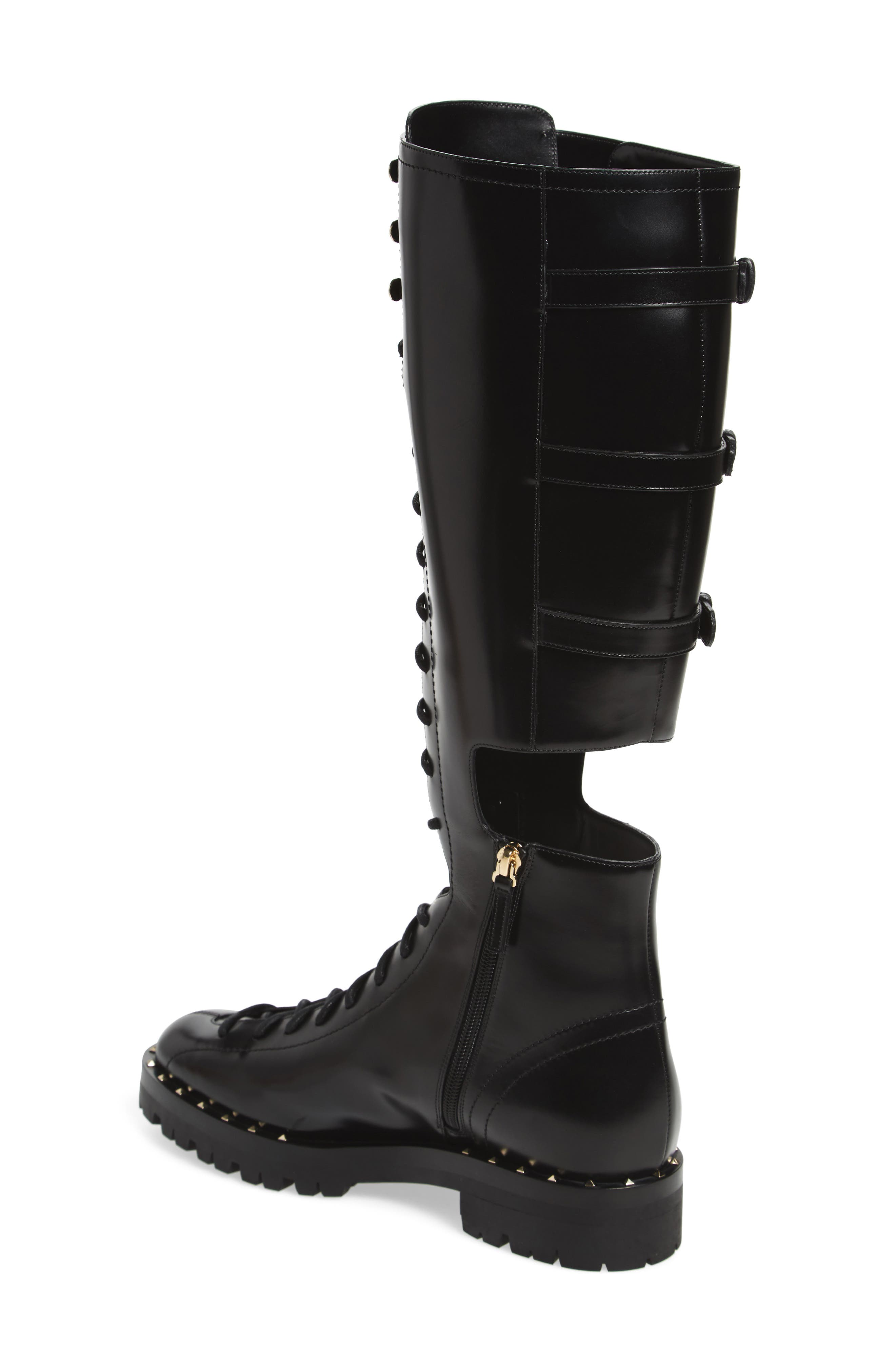 Alternate Image 2  - VALENTINO GARAVANI Soul Rockstud Knee High Cutout Boot (Women)