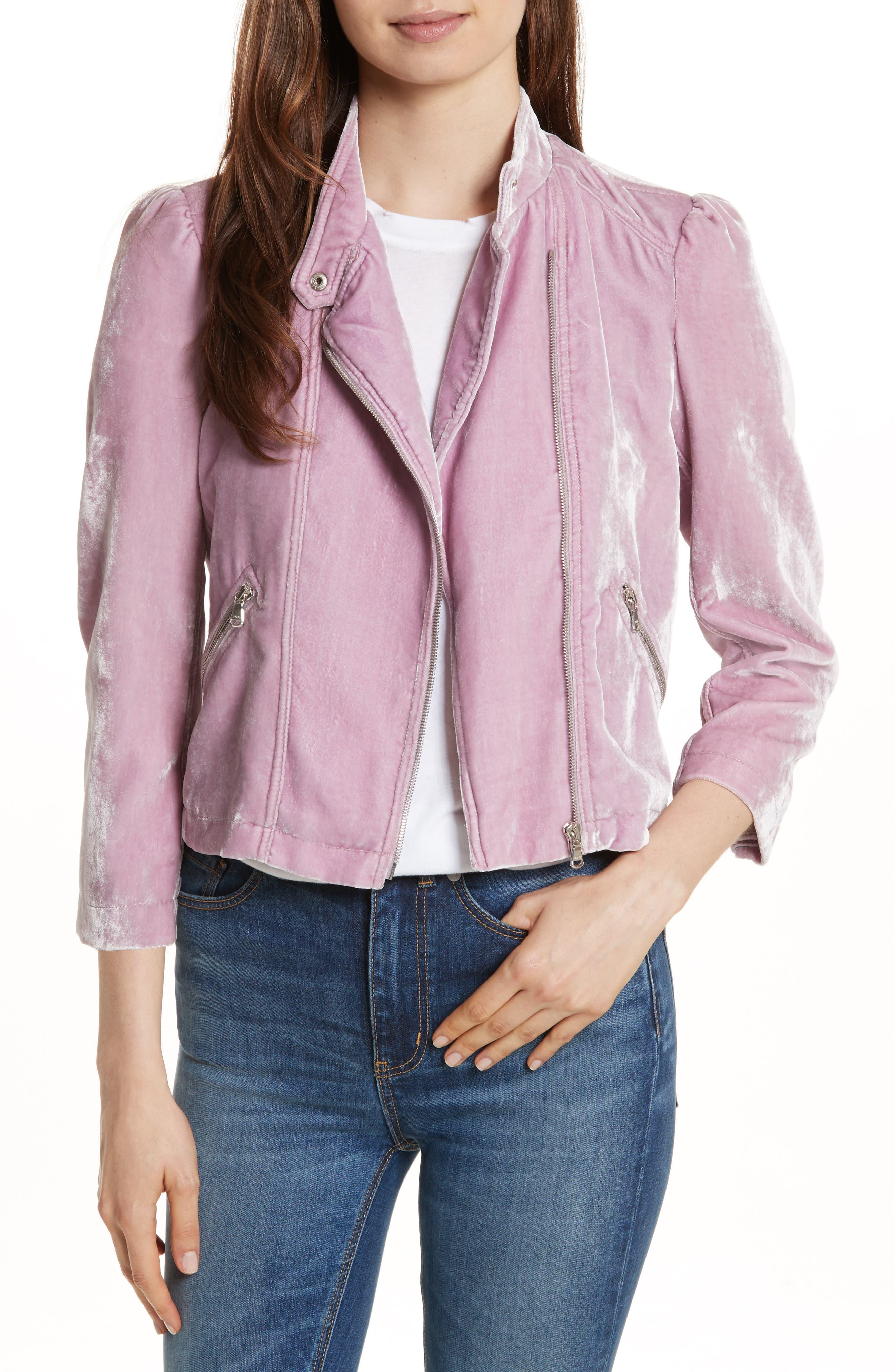 Alternate Image 1 Selected - Rebecca Taylor Velvet Moto Jacket