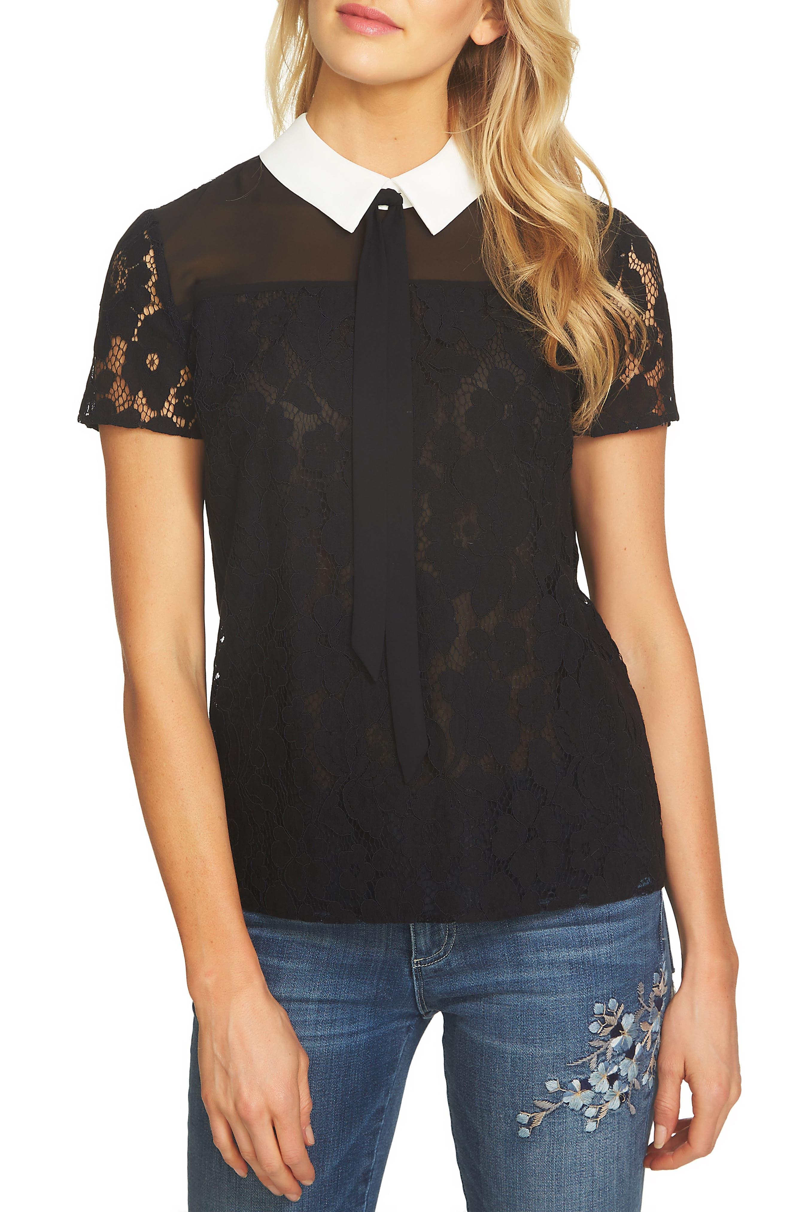 Floral Lace Blouse,                         Main,                         color, Rich Black