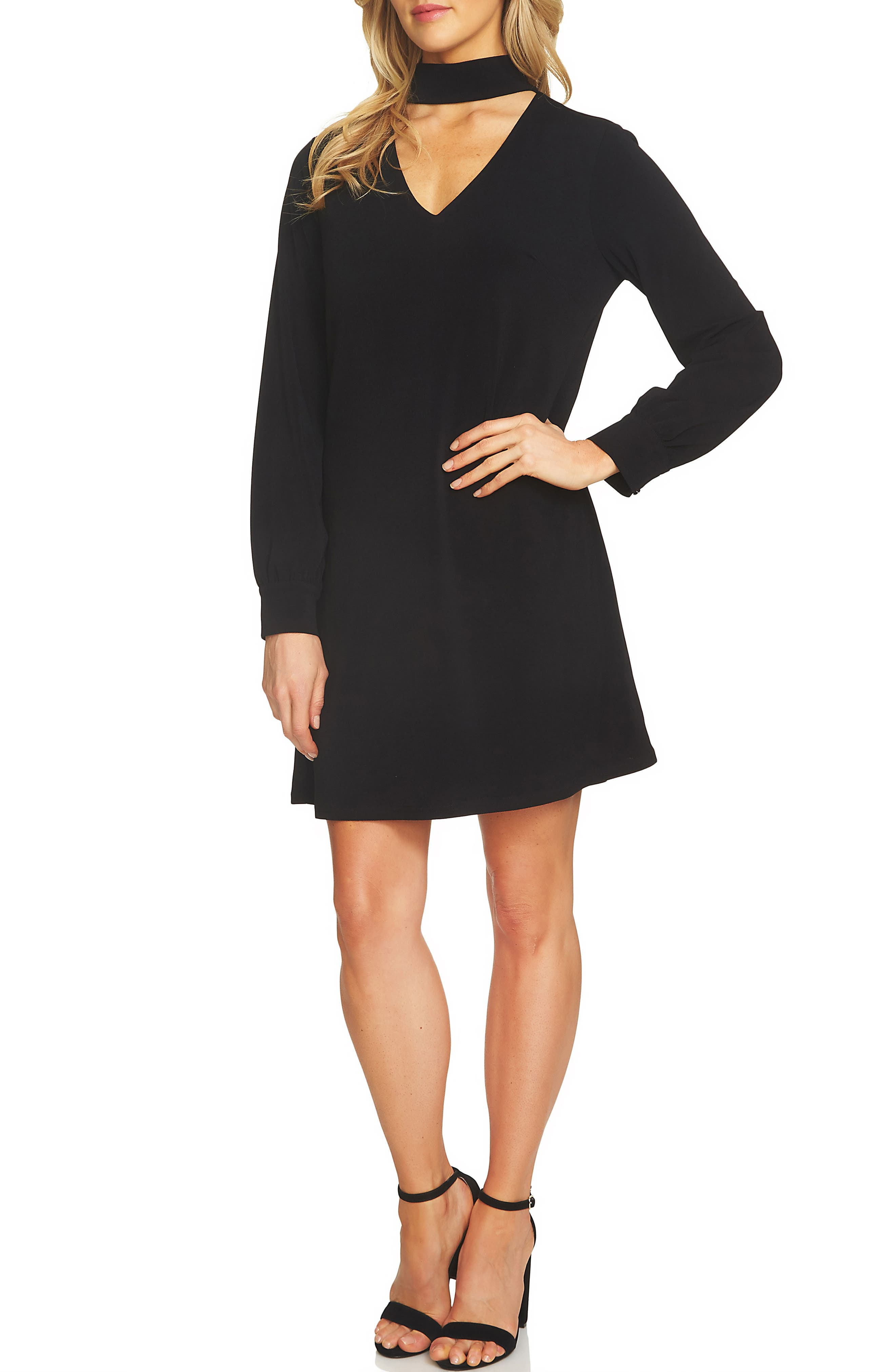 Choker Shift Dress,                         Main,                         color, Rich Black