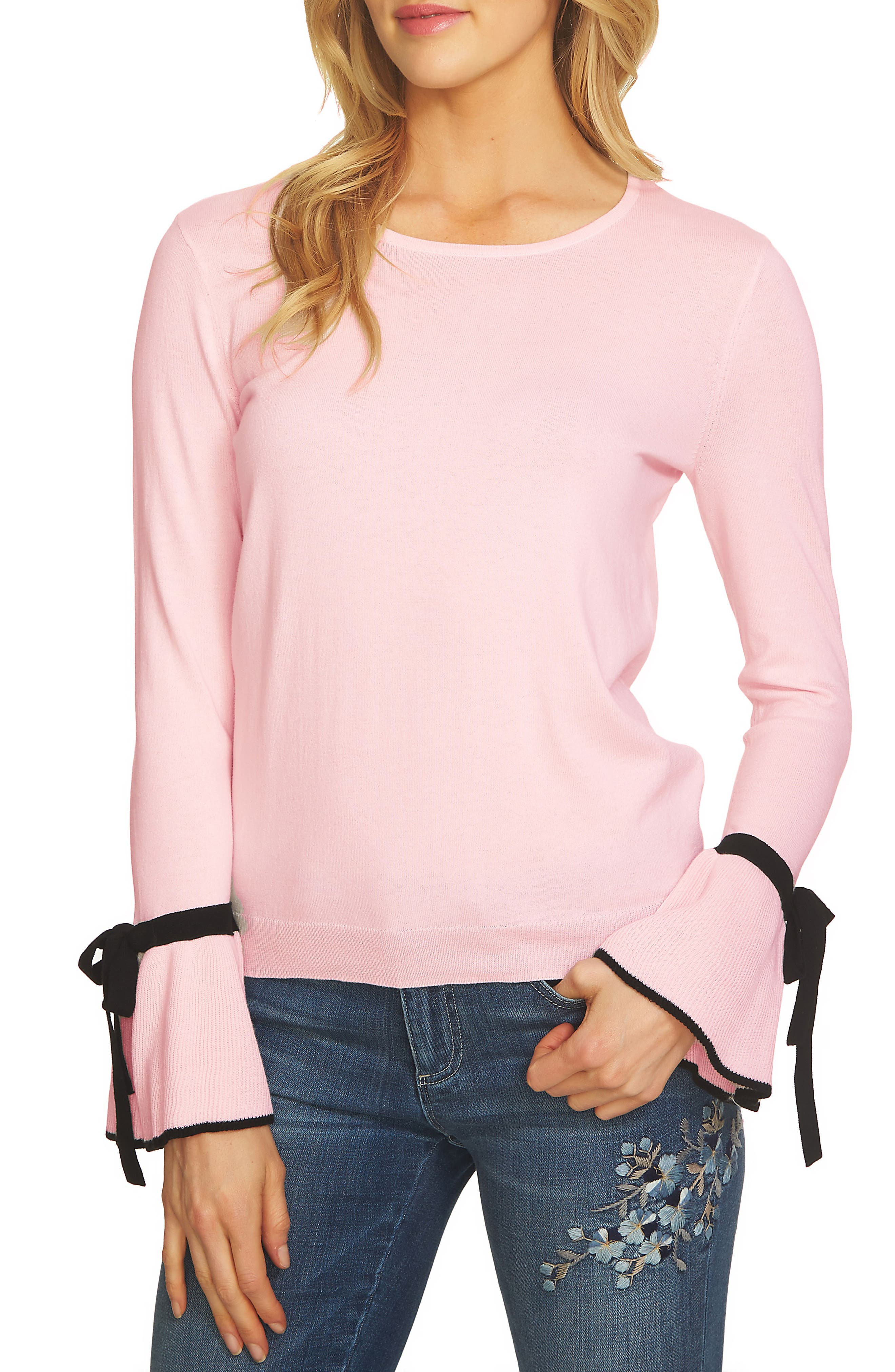 Bow Cuff Sweater,                             Main thumbnail 1, color,                             Light Flora Pink