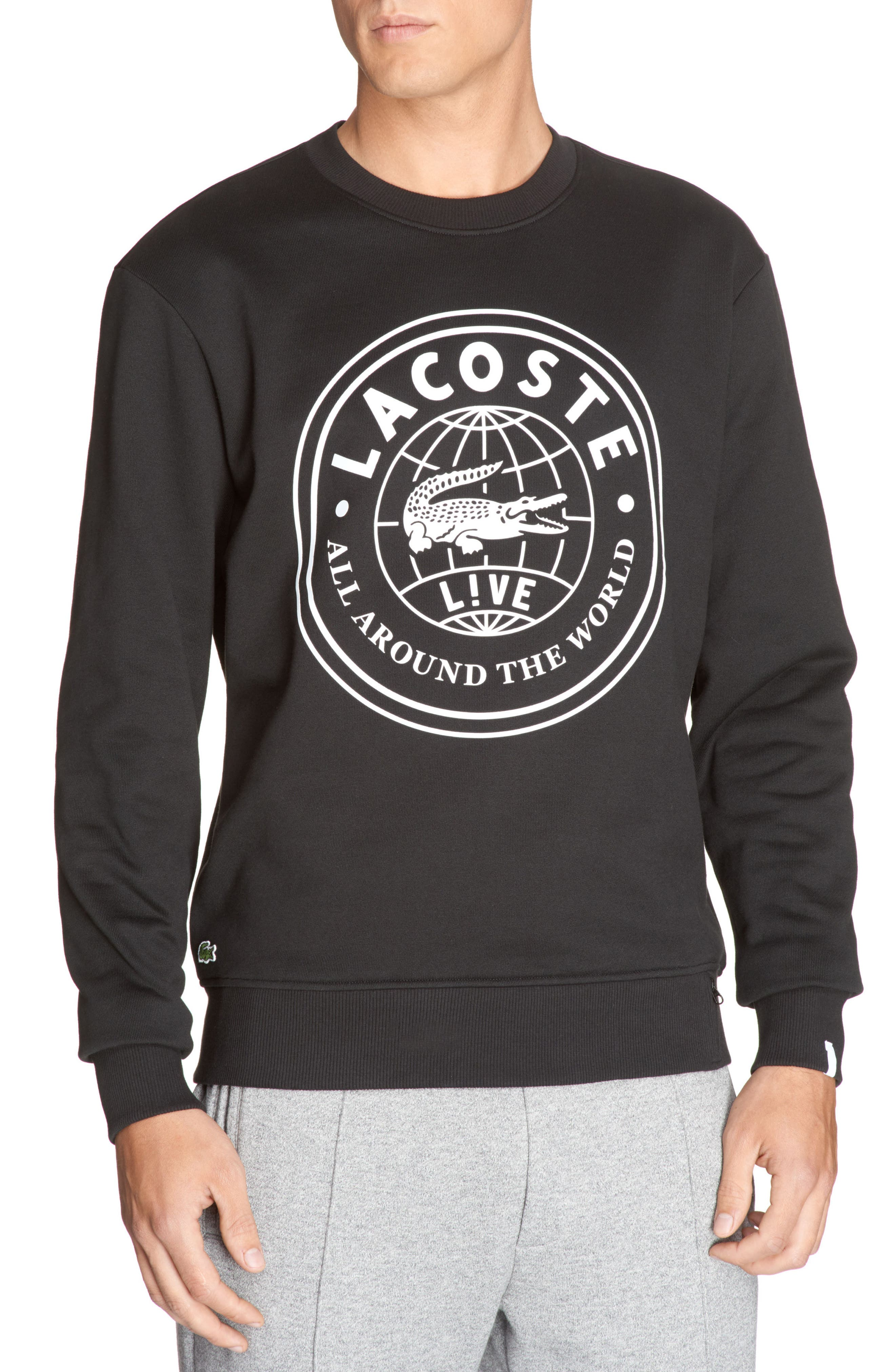 Molleton Worldwide Sweatshirt,                         Main,                         color, 258 Black/ White