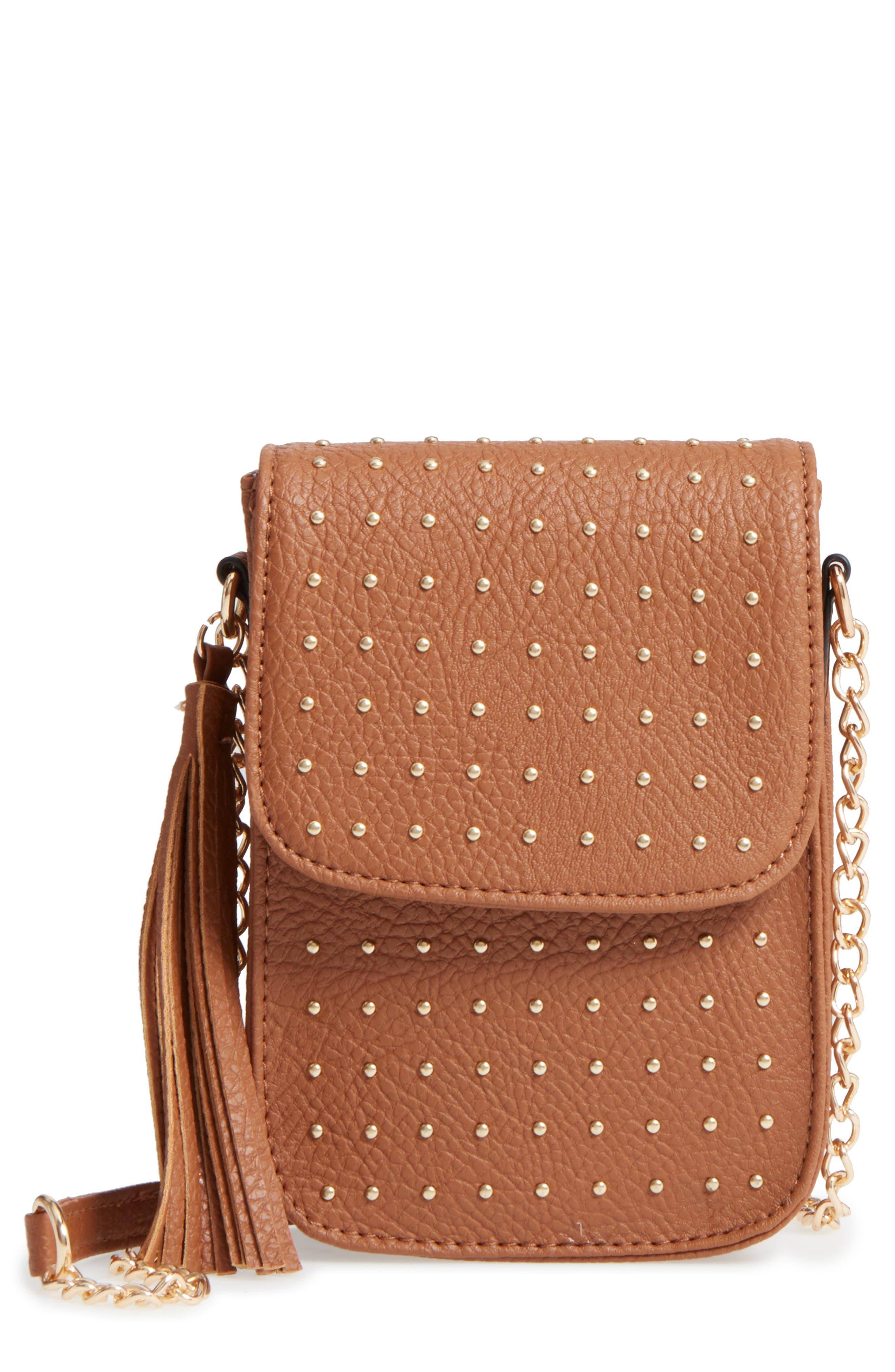 Amici Accessories Studded Faux Leather Phone Crossbody Bag