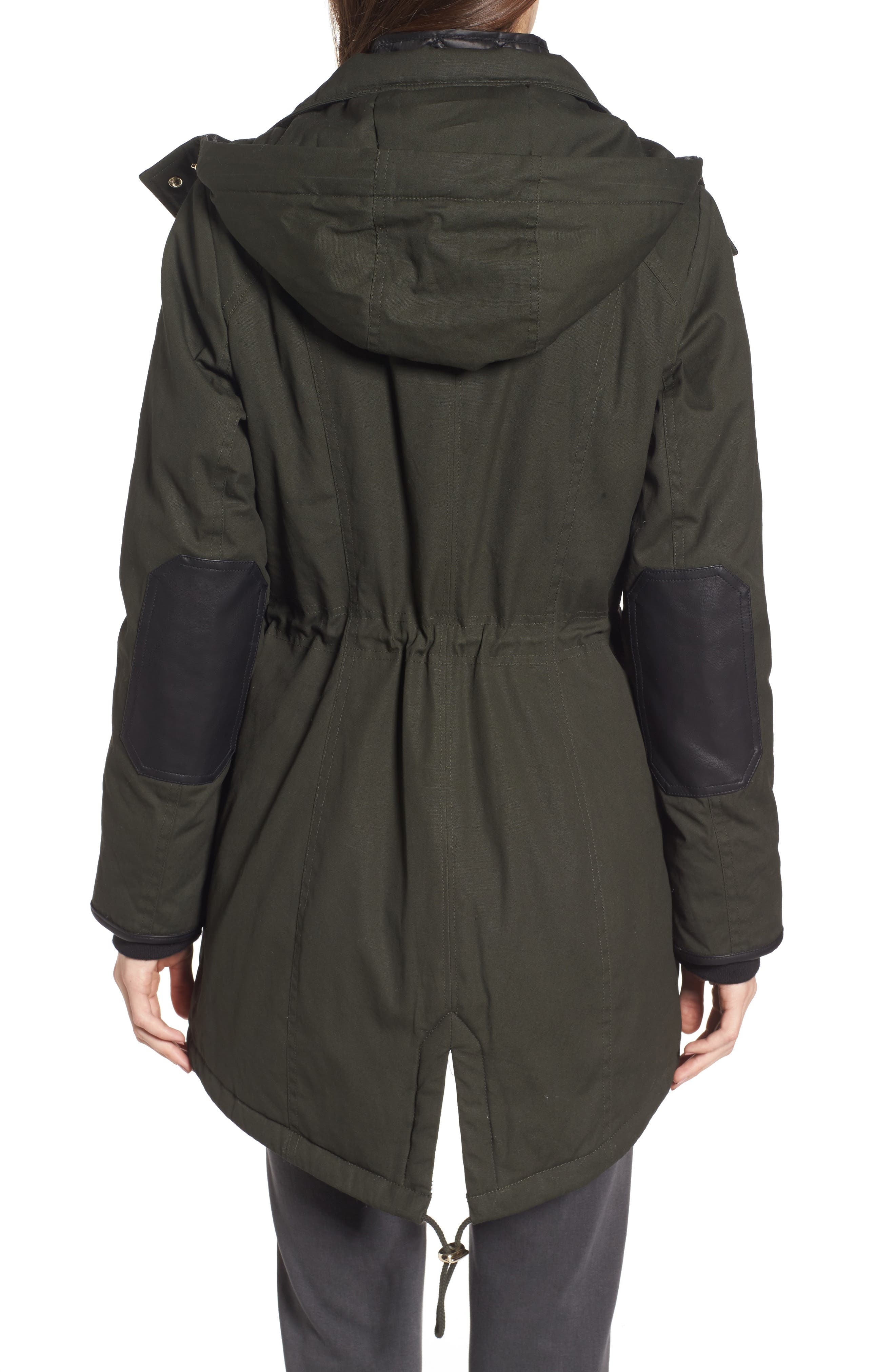Hooded Anorak with Detachable Faux Fur,                             Alternate thumbnail 2, color,                             Dark Olive