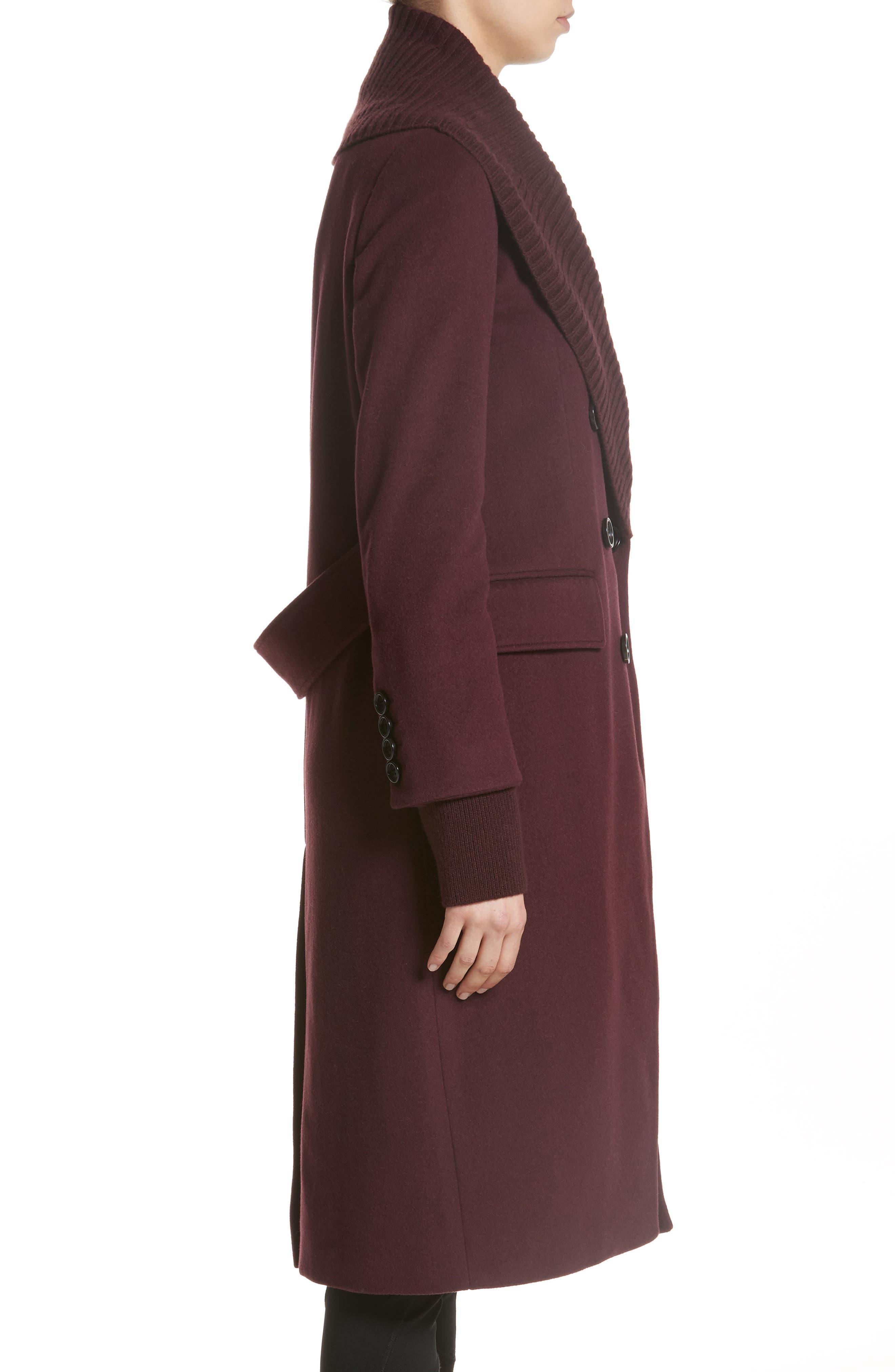 Cairndale Knit Trim Cashmere Coat,                             Alternate thumbnail 4, color,                             Black Currant