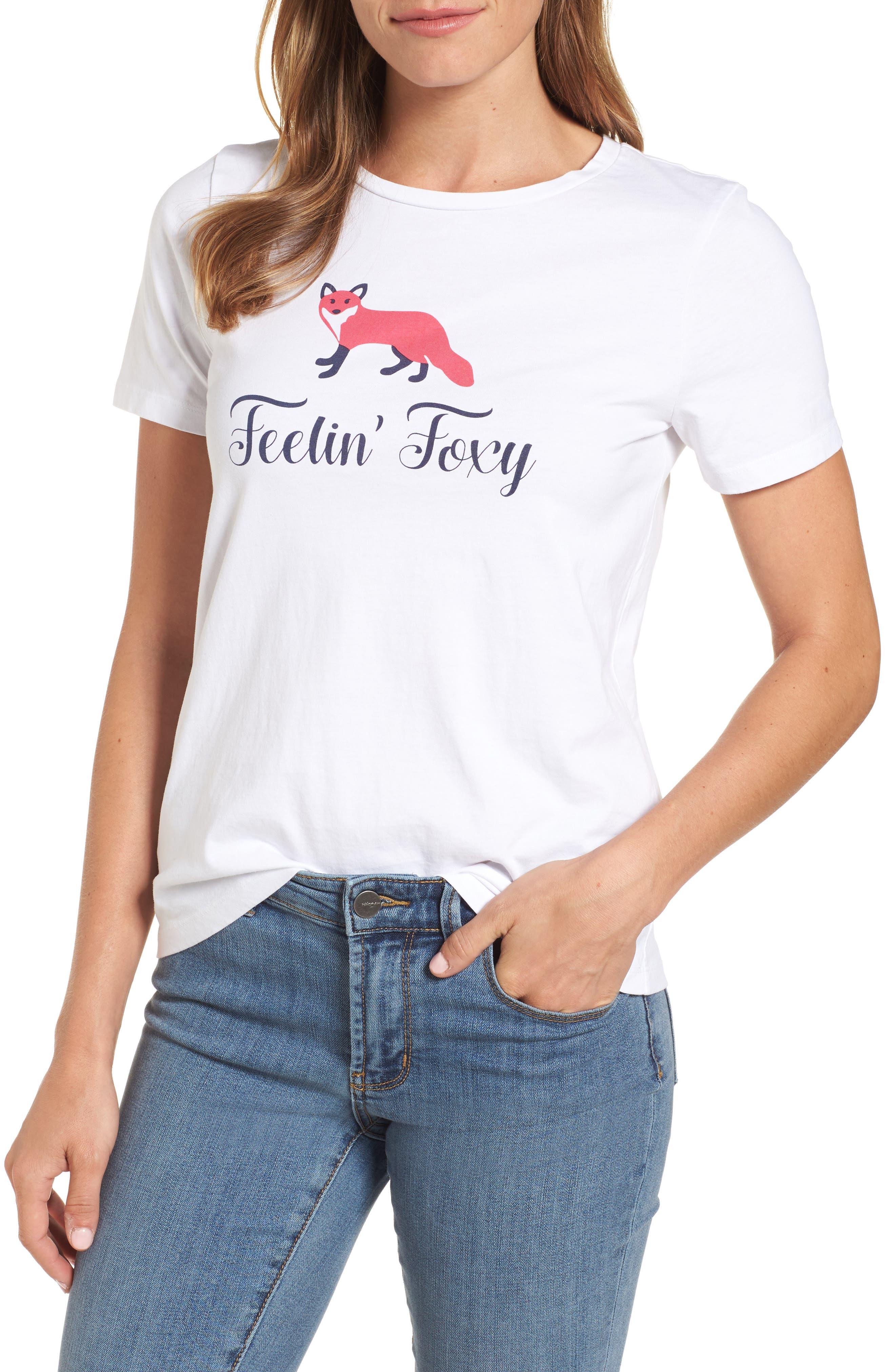 Feelin' Foxy Tee,                         Main,                         color, Willow White