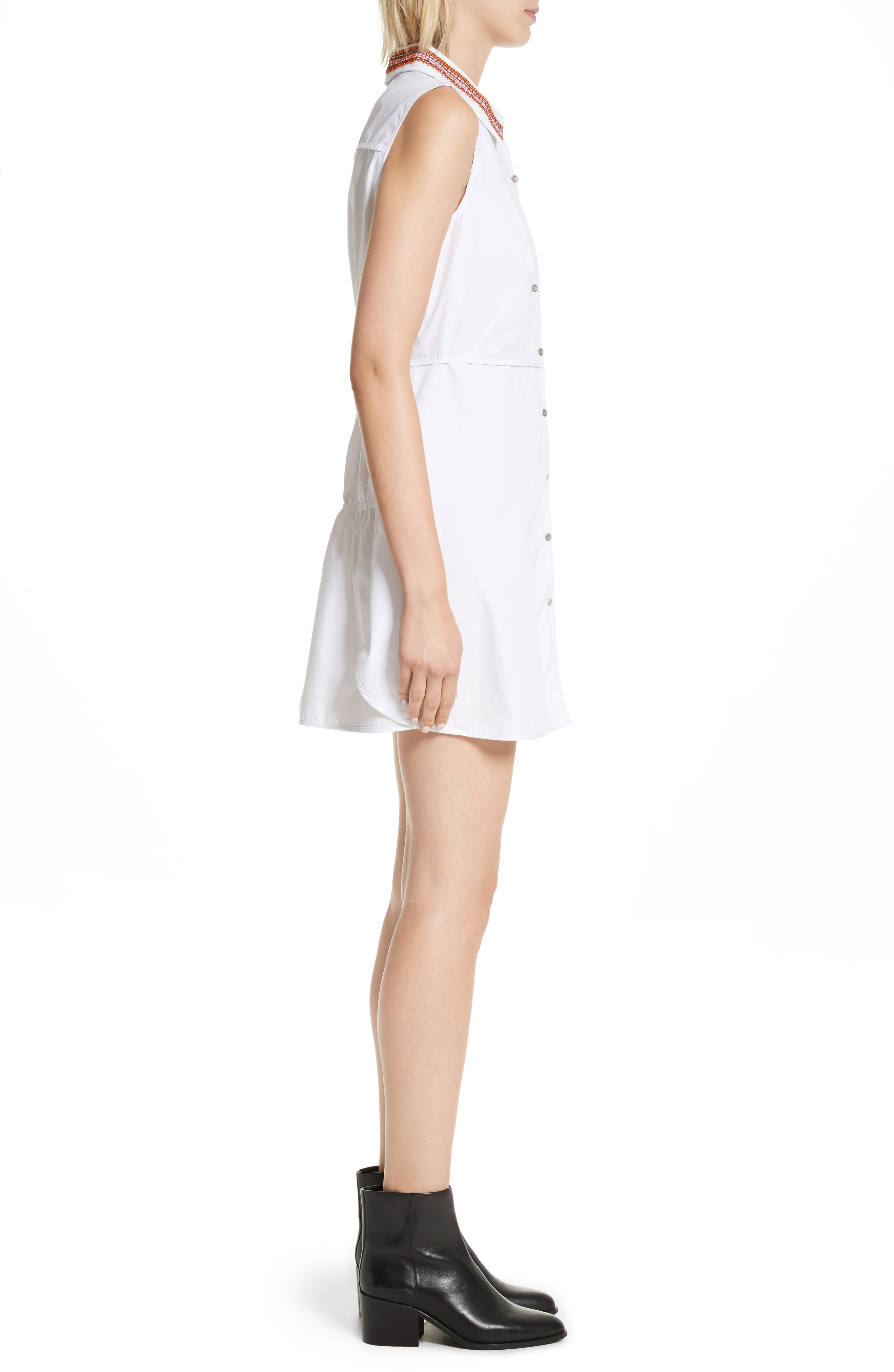 Transformer Poplin Dress with Detachable Embroidered Collar,                             Alternate thumbnail 3, color,                             White