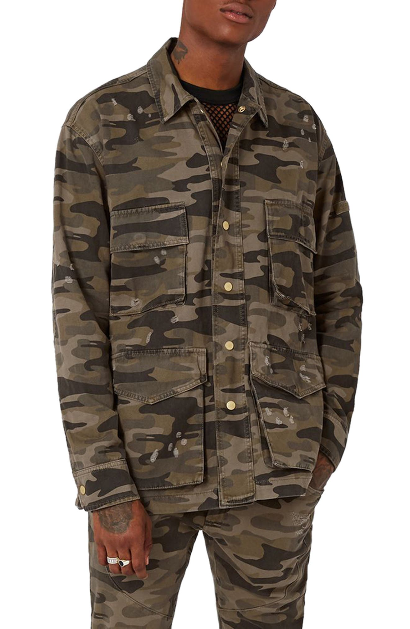 AAA Collection Distressed Camo Field Jacket,                         Main,                         color, Green Multi
