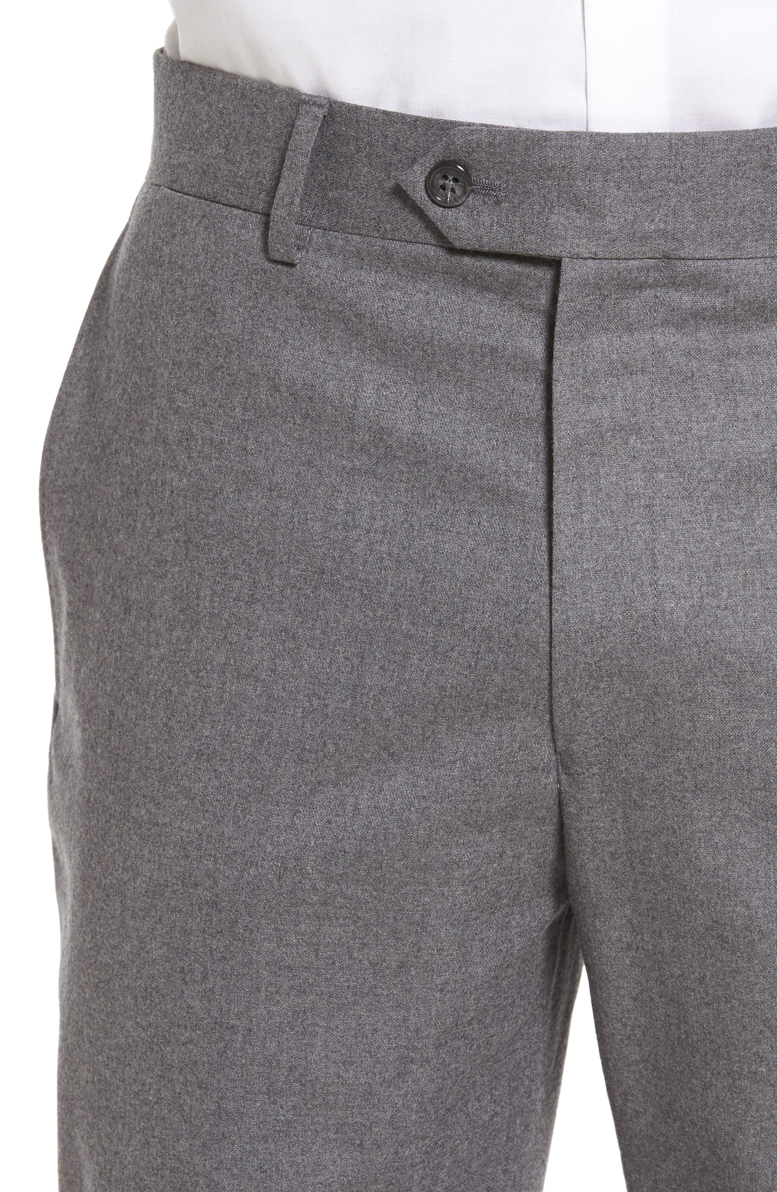 Sutton Flat Front Stretch Wool Trousers,                             Alternate thumbnail 4, color,                             Light Grey