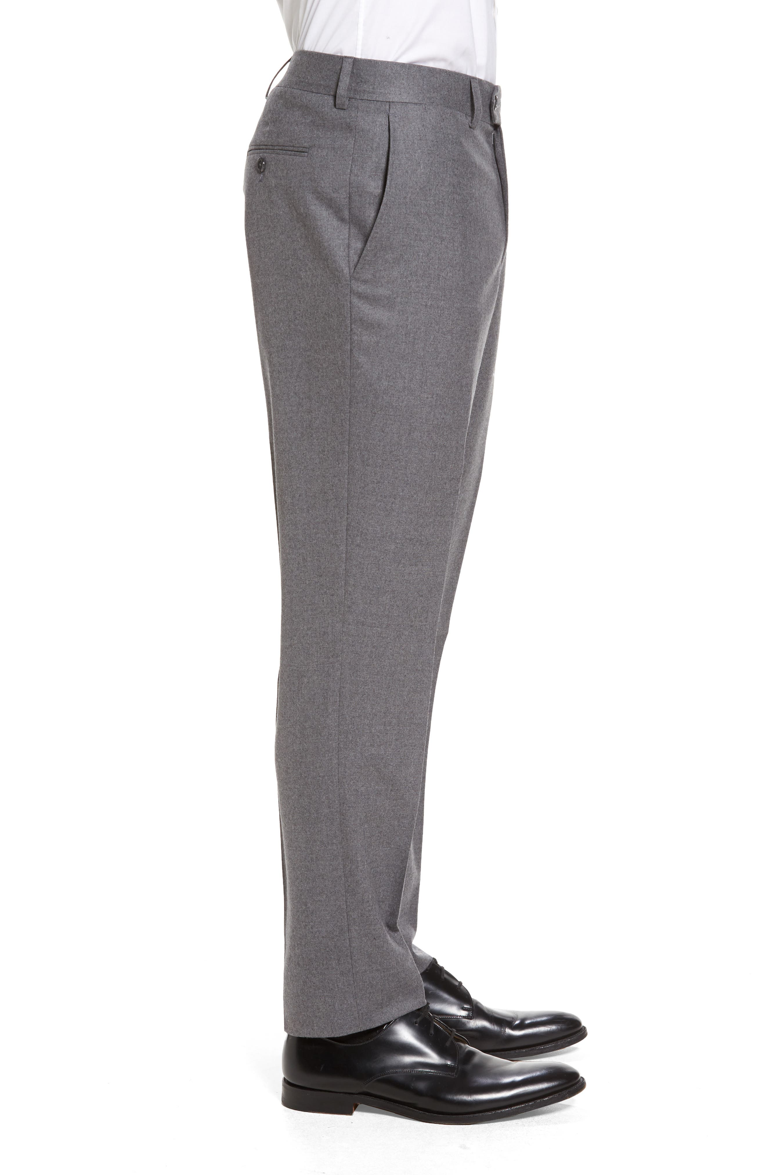 Sutton Flat Front Stretch Wool Trousers,                             Alternate thumbnail 3, color,                             Light Grey