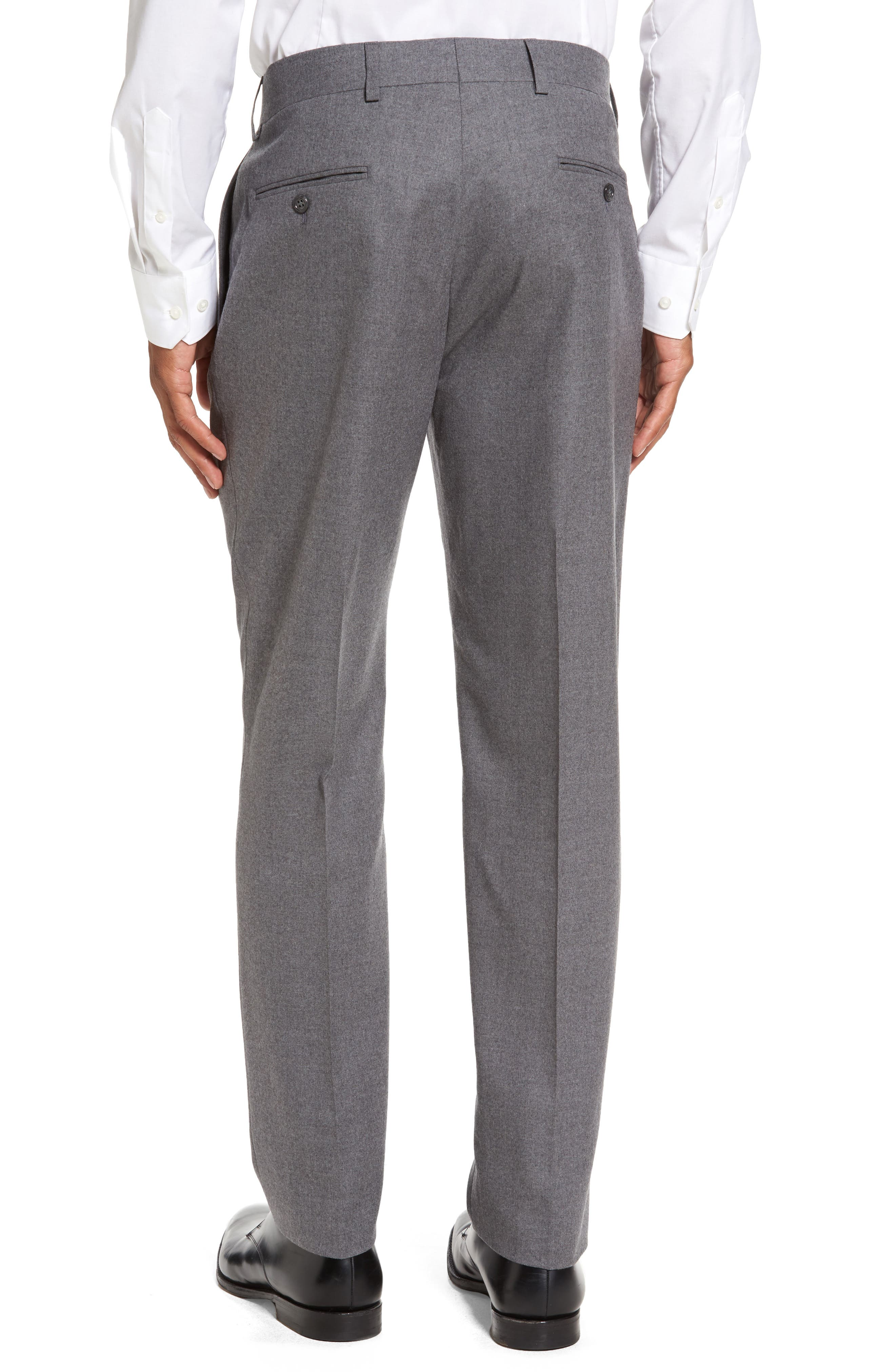 Sutton Flat Front Stretch Wool Trousers,                             Alternate thumbnail 2, color,                             Light Grey