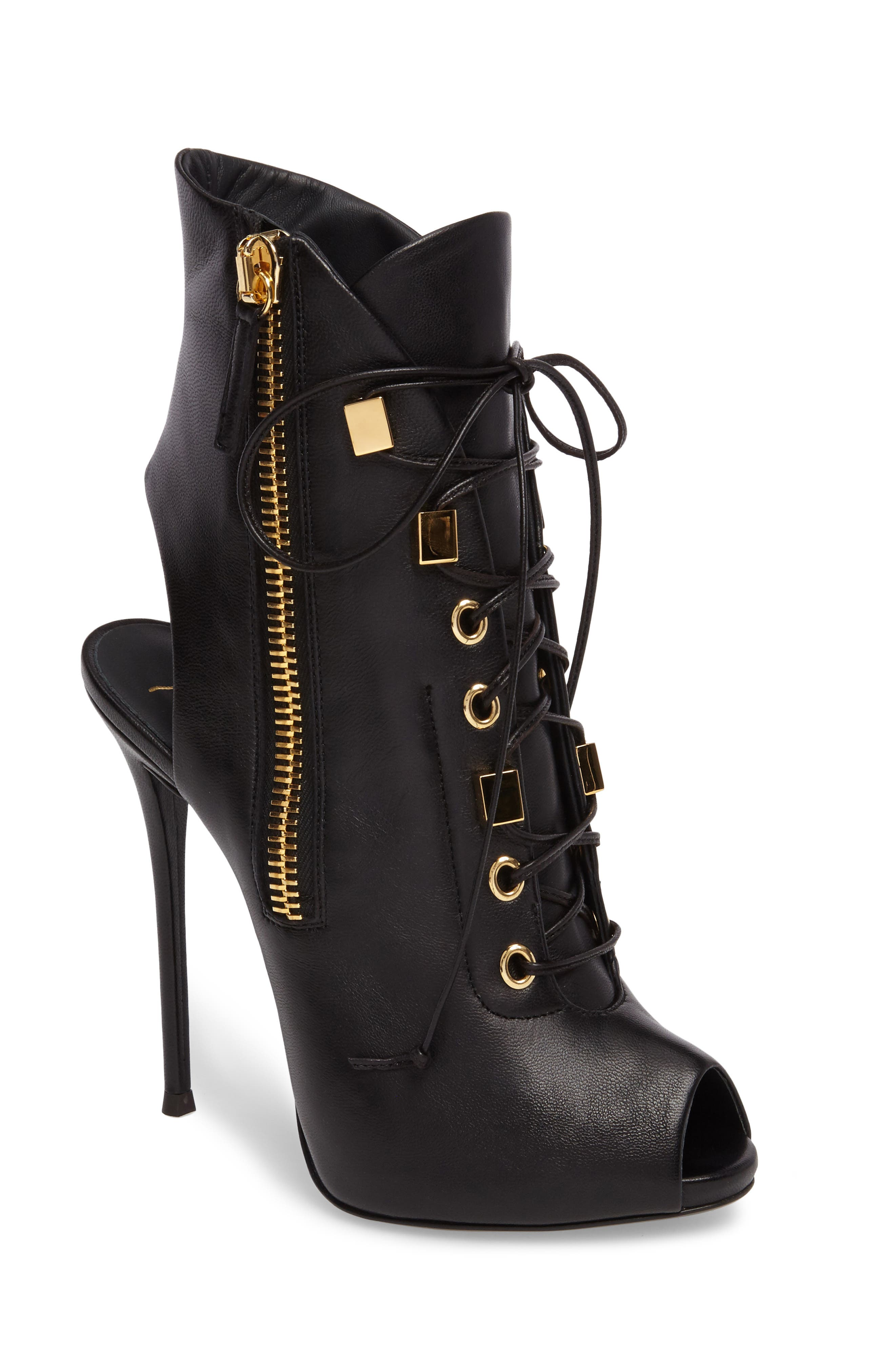 Corset Peep-Toe Bootie,                         Main,                         color, Black