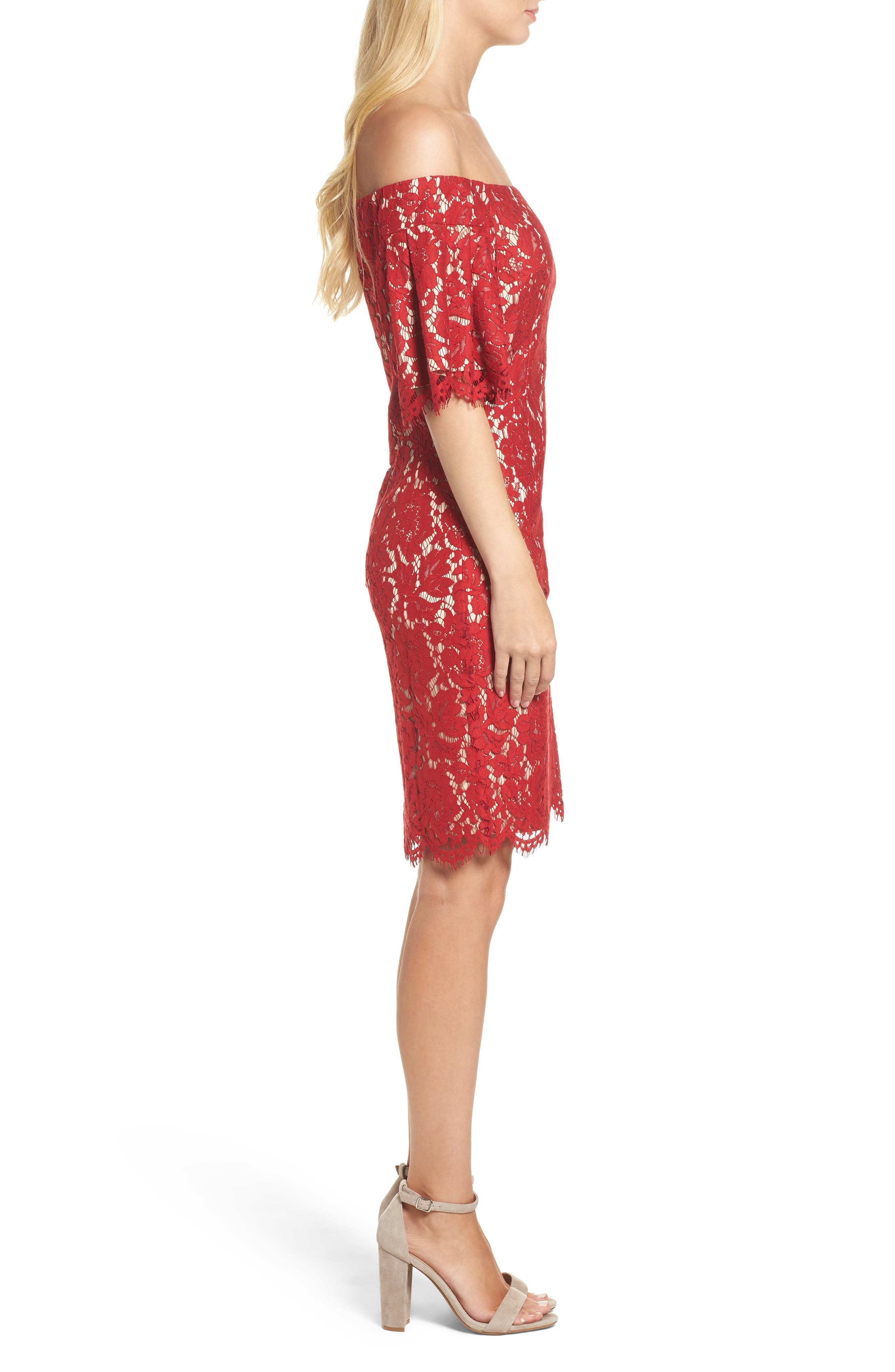 Flounce Sleeve Off the Shoulder Lace Sheath Dress,                             Alternate thumbnail 3, color,                             Red