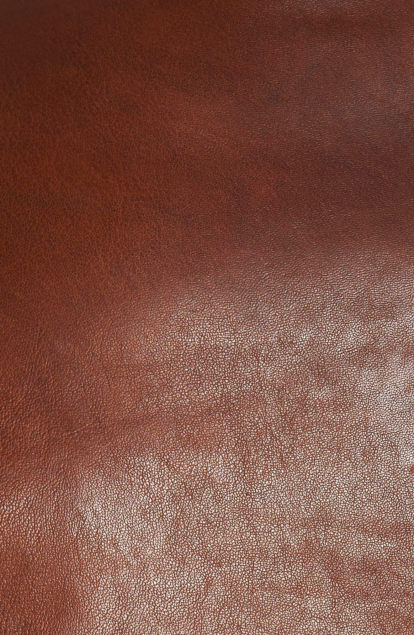 Reversible Washed Leather Jacket,                             Alternate thumbnail 5, color,                             Cognac