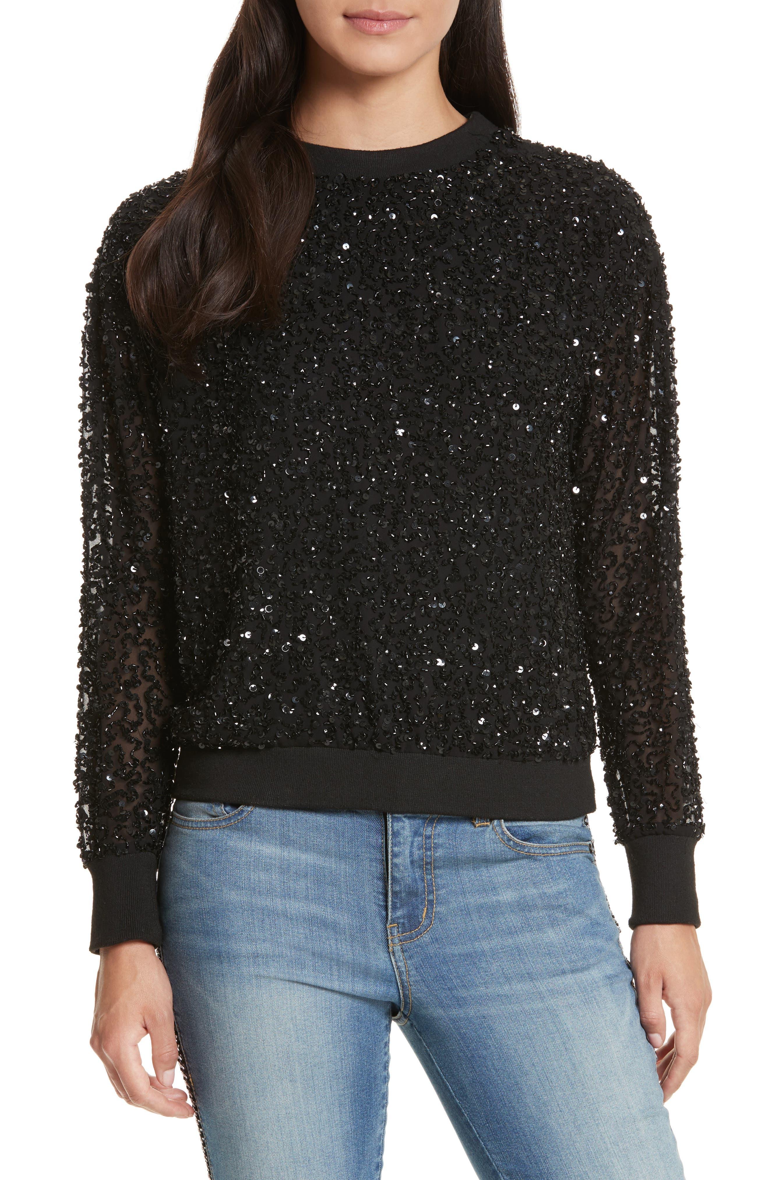 Helen Embellished Crewneck Sweatshirt,                         Main,                         color, Black