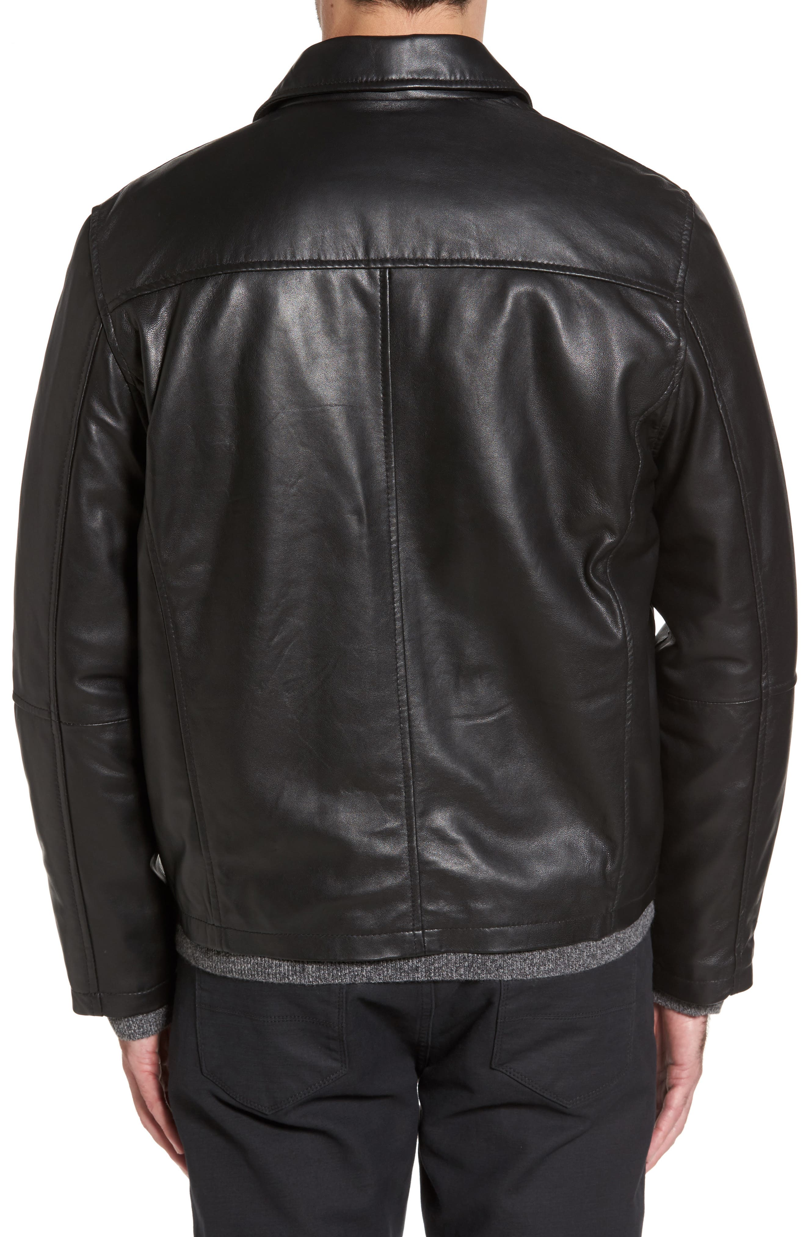 Collared Leather Jacket,                             Alternate thumbnail 2, color,                             Black