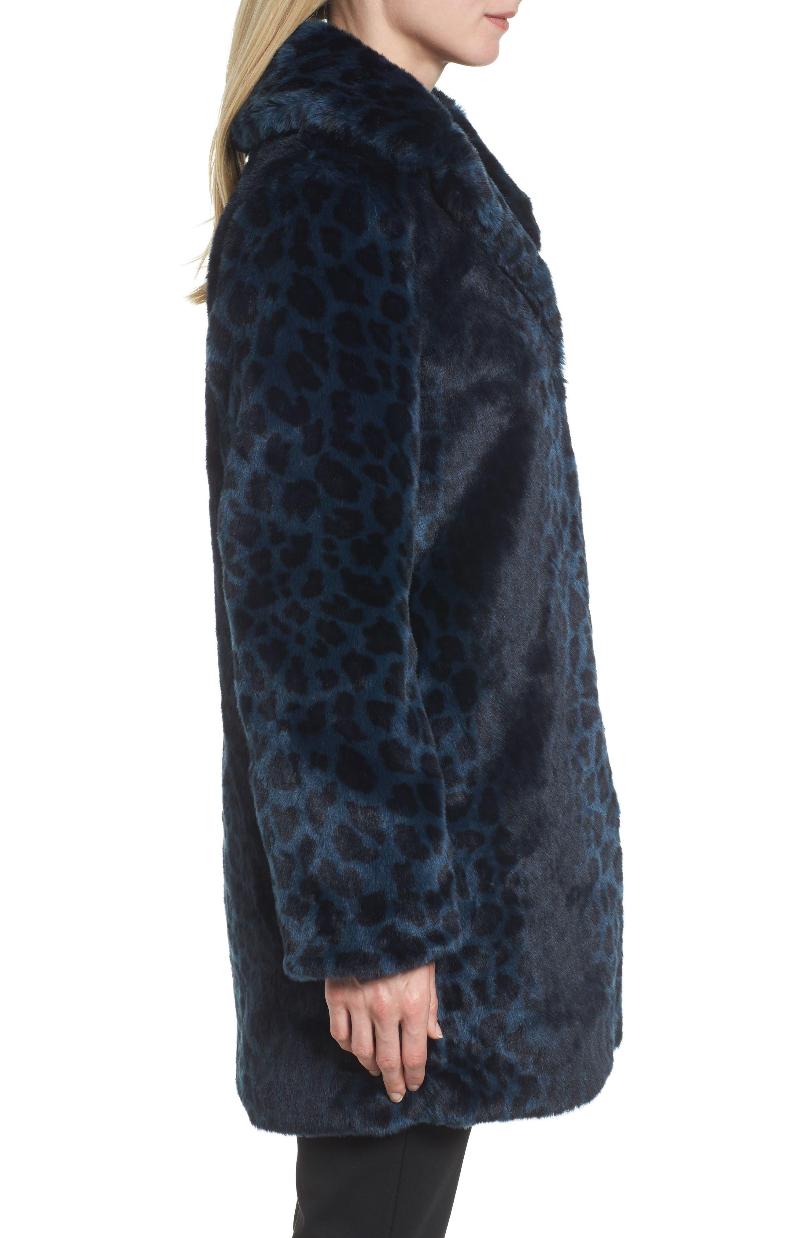 Reversible Cheetah Print Faux Fur Jacket,                             Alternate thumbnail 3, color,                             Navy
